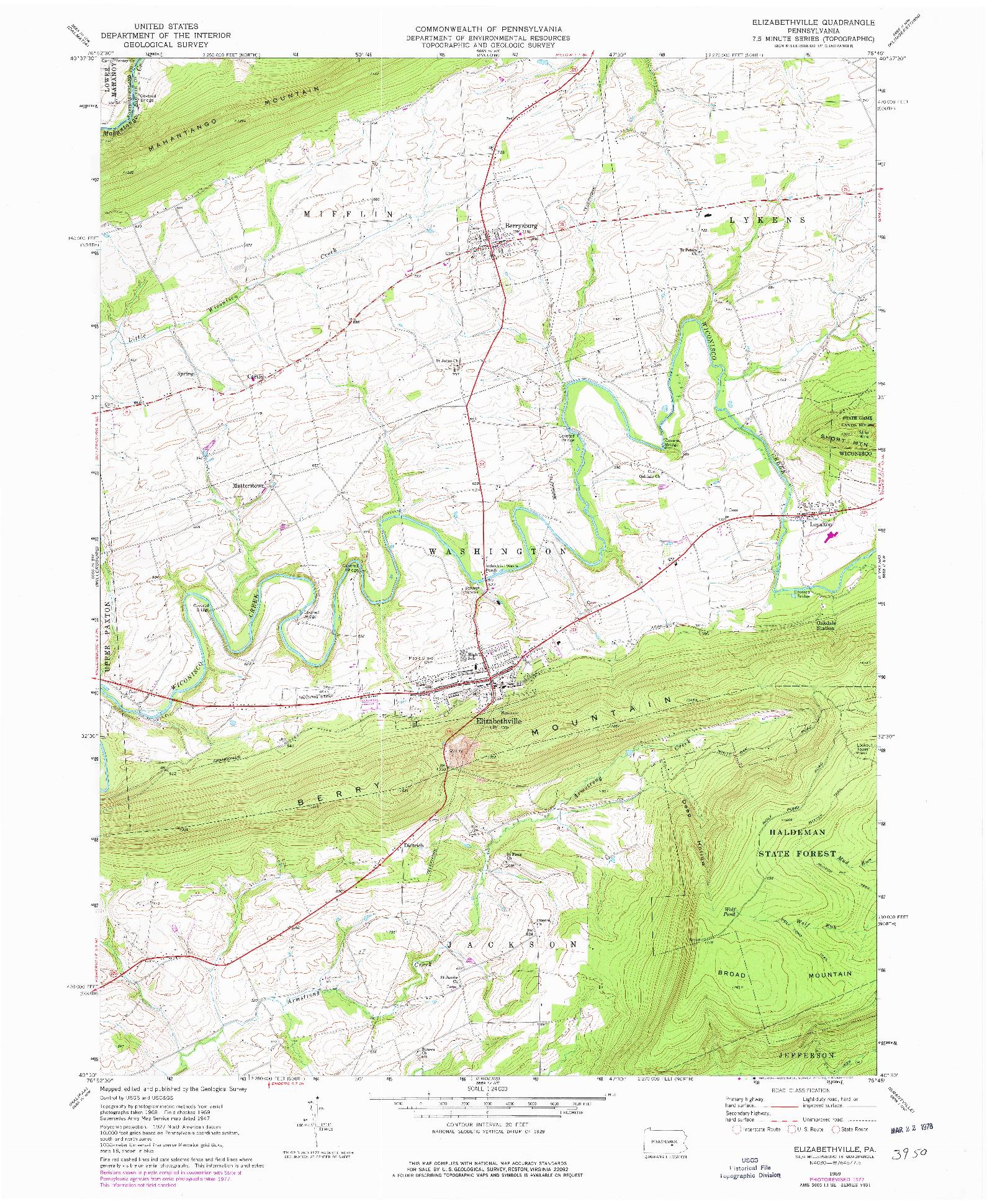 USGS 1:24000-SCALE QUADRANGLE FOR ELIZABETHVILLE, PA 1969