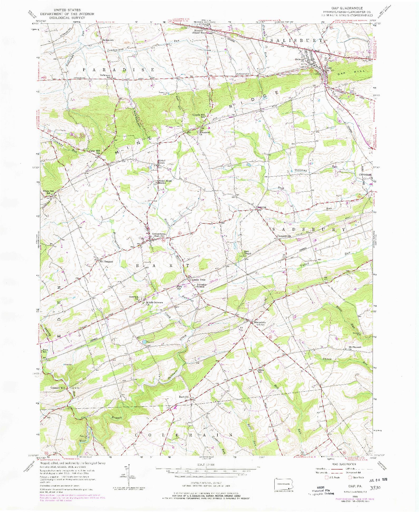USGS 1:24000-SCALE QUADRANGLE FOR GAP, PA 1955