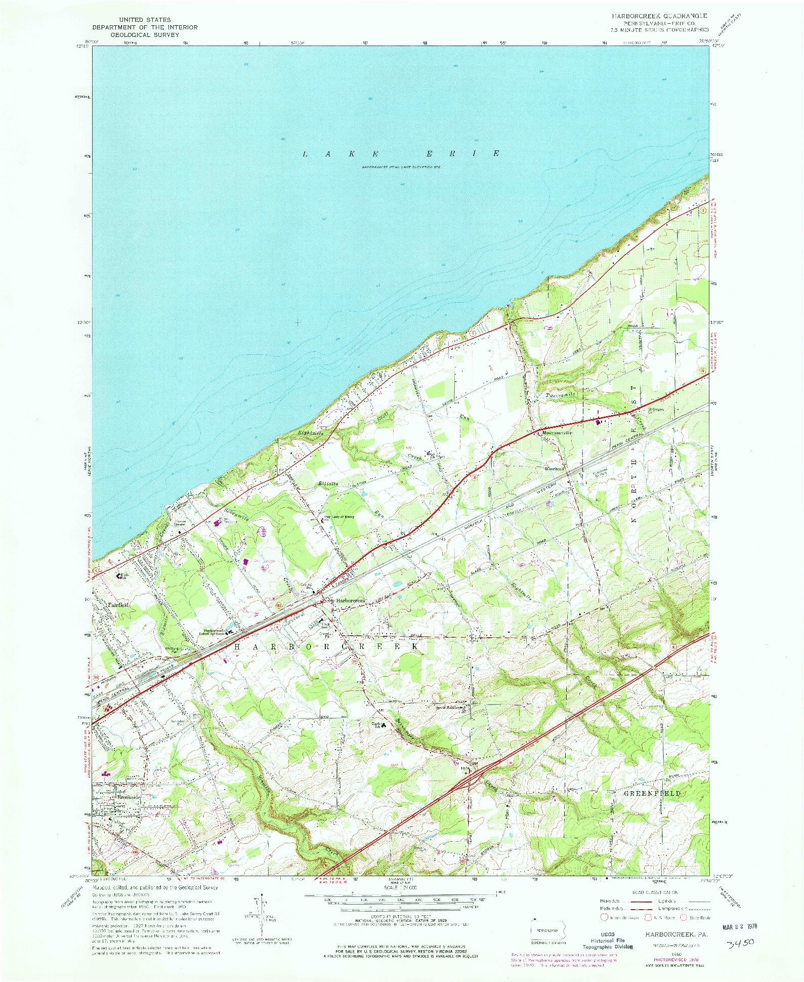USGS 1:24000-SCALE QUADRANGLE FOR HARBORCREEK, PA 1960