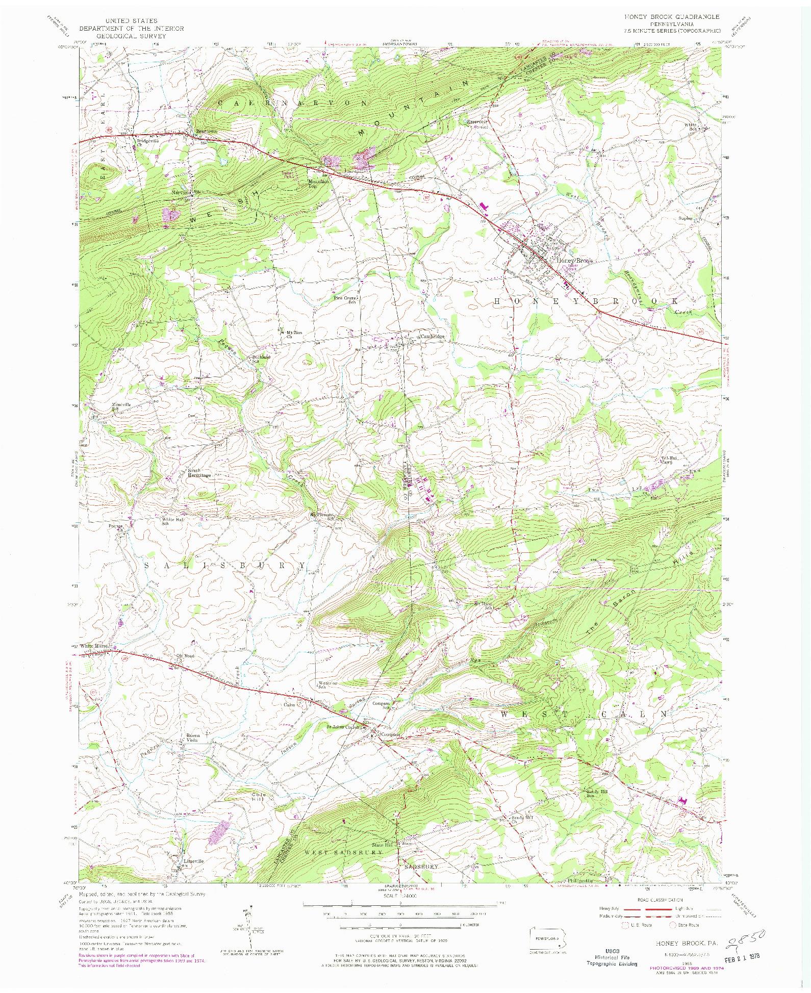 USGS 1:24000-SCALE QUADRANGLE FOR HONEY BROOK, PA 1955