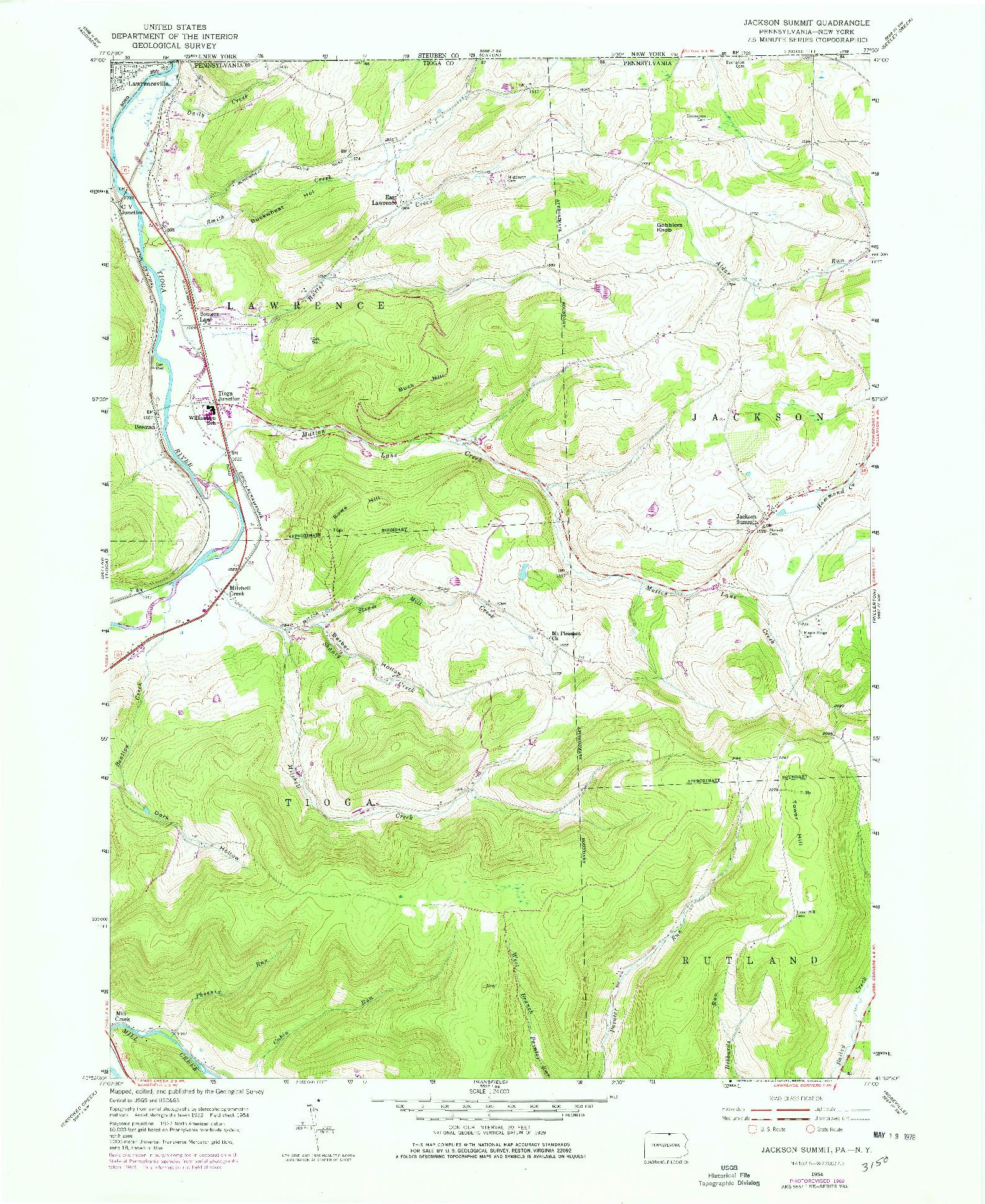 USGS 1:24000-SCALE QUADRANGLE FOR JACKSON SUMMIT, PA 1954
