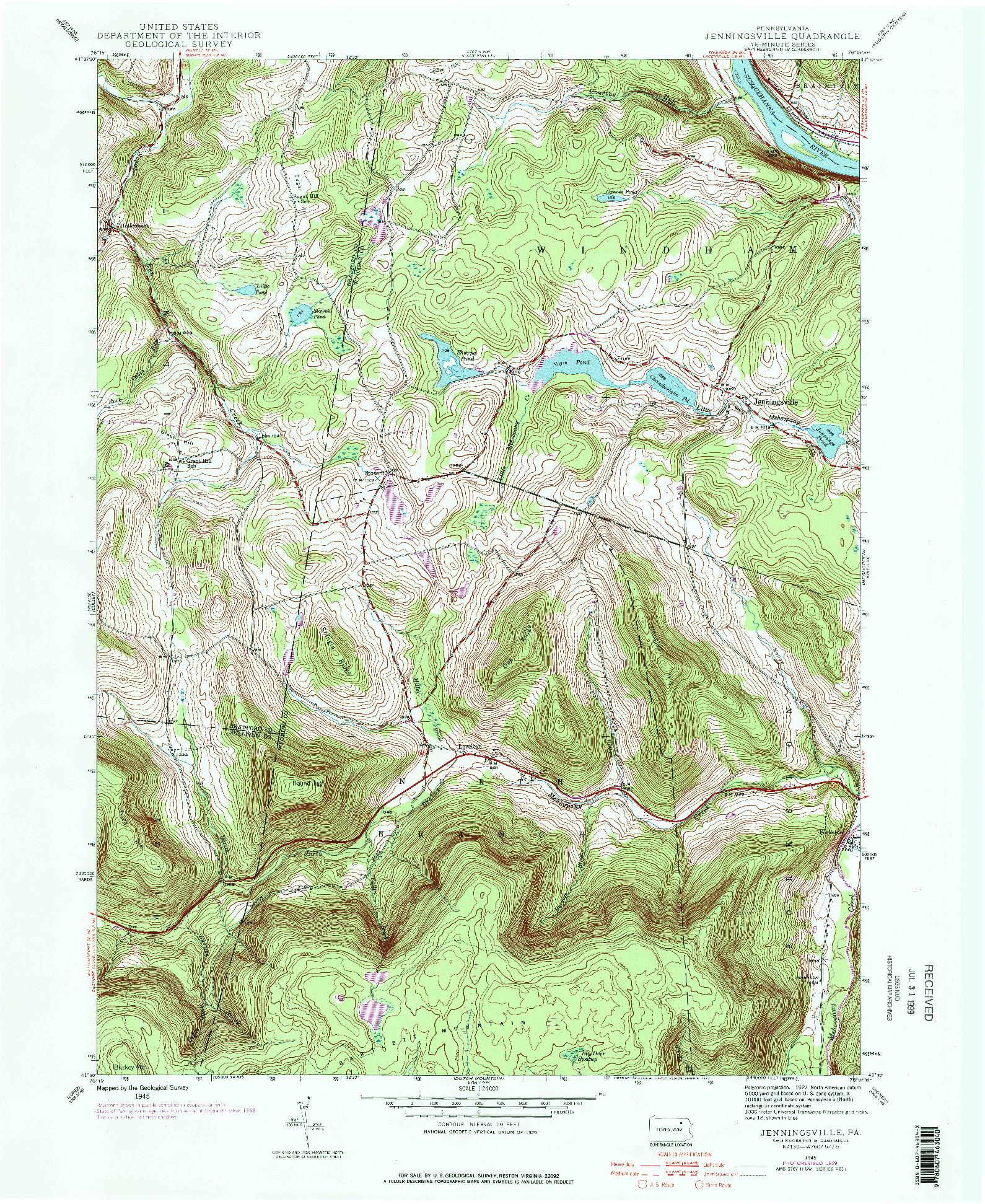 USGS 1:24000-SCALE QUADRANGLE FOR JENNINGSVILLE, PA 1945