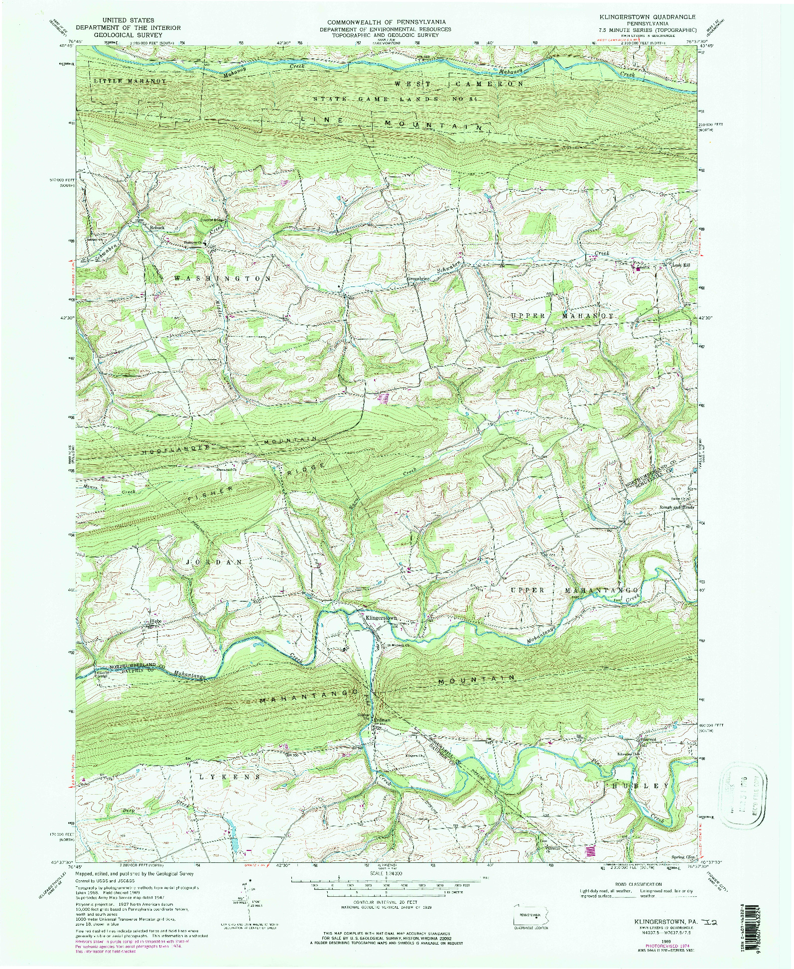 USGS 1:24000-SCALE QUADRANGLE FOR KLINGERSTOWN, PA 1969