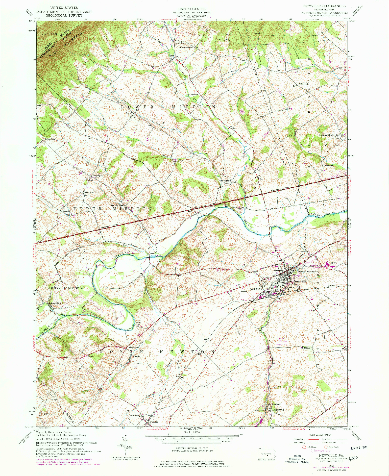 USGS 1:24000-SCALE QUADRANGLE FOR NEWVILLE, PA 1952