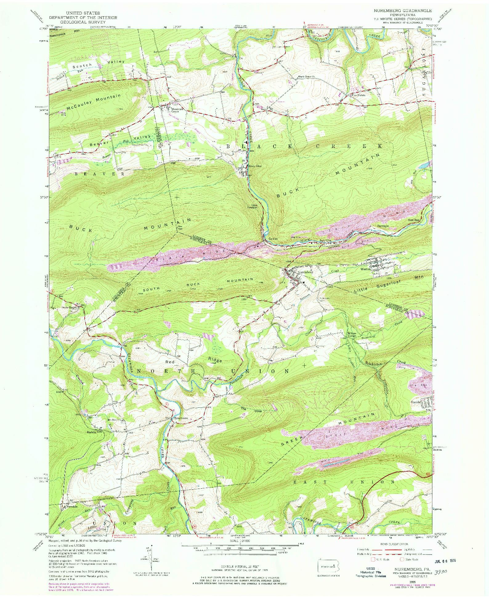 USGS 1:24000-SCALE QUADRANGLE FOR NUREMBERG, PA 1955