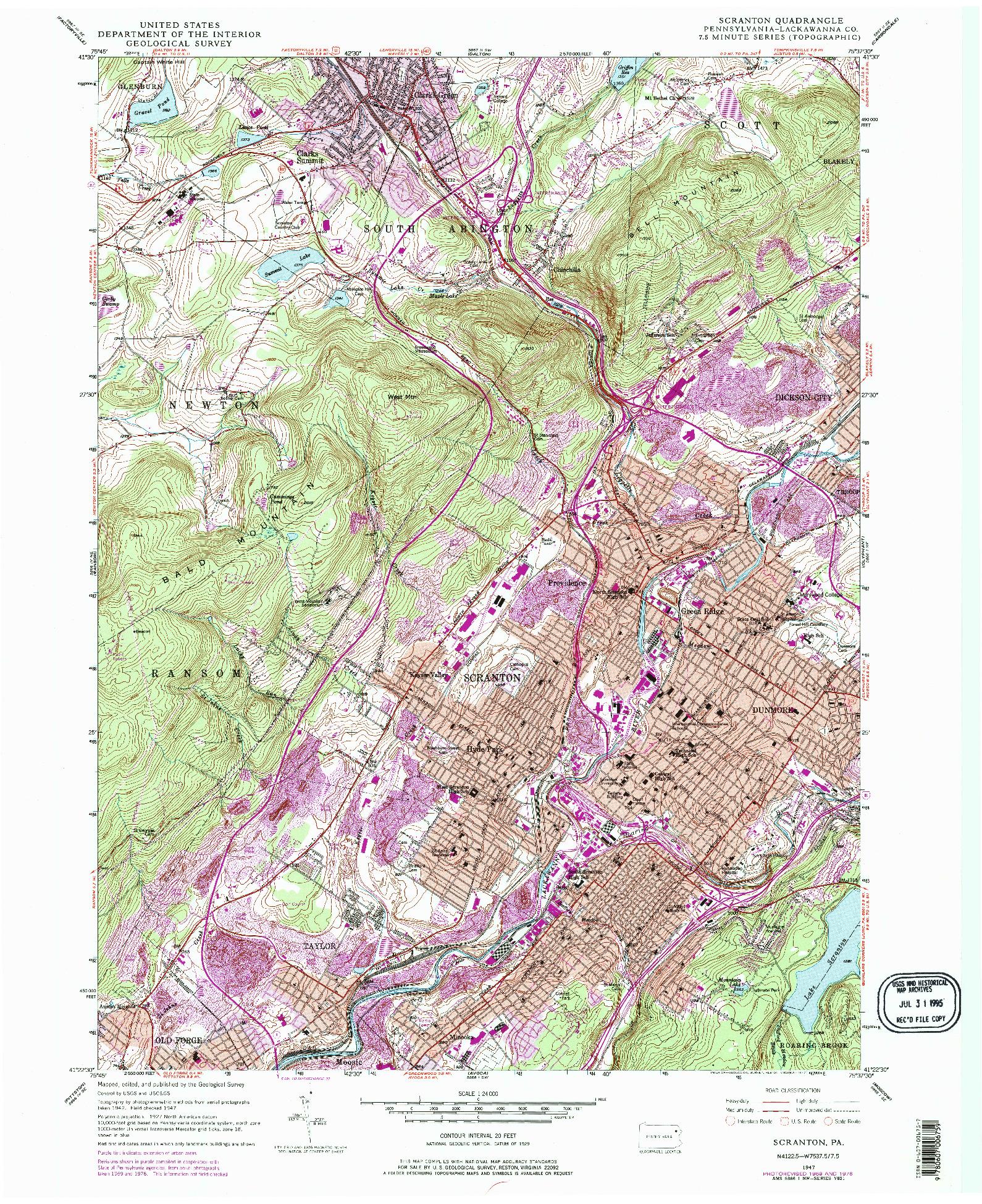 USGS 1:24000-SCALE QUADRANGLE FOR SCRANTON, PA 1947
