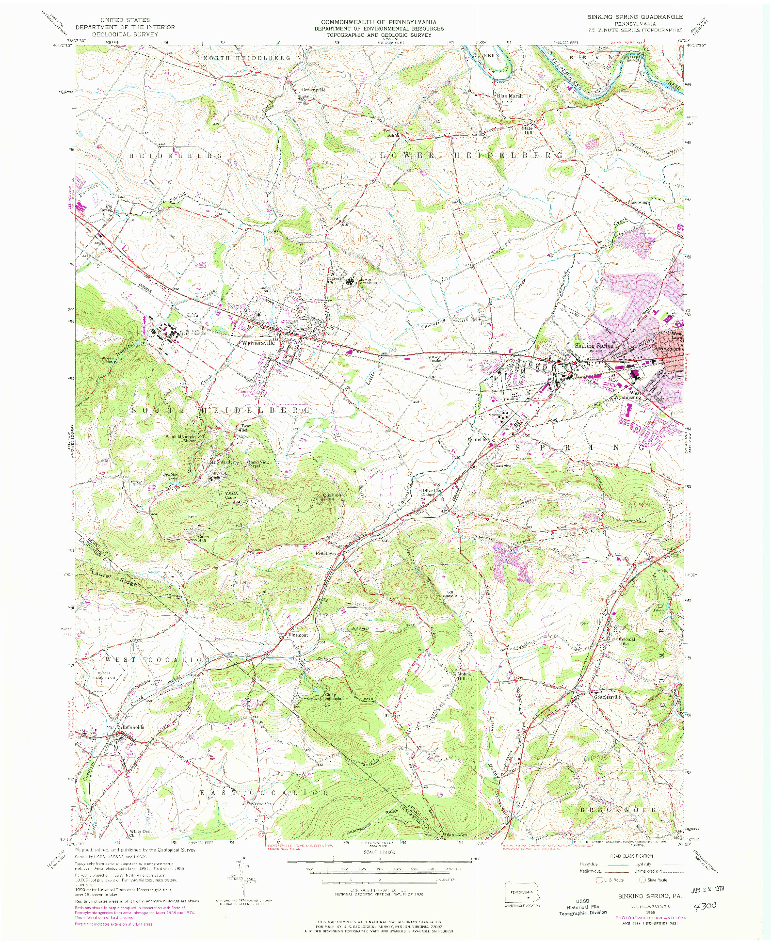 USGS 1:24000-SCALE QUADRANGLE FOR SINKING SPRING, PA 1955