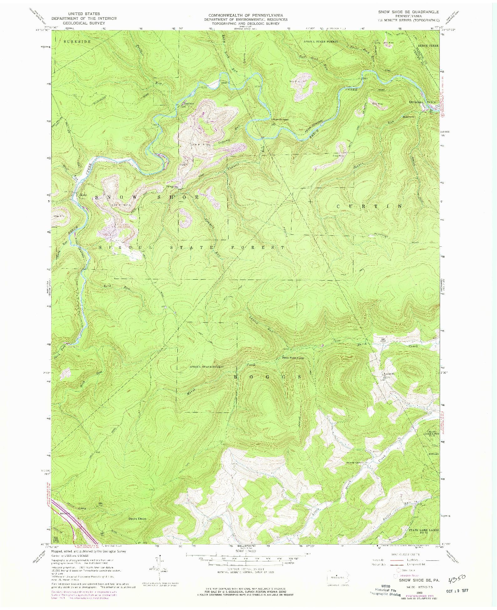USGS 1:24000-SCALE QUADRANGLE FOR SNOW SHOE SE, PA 1960