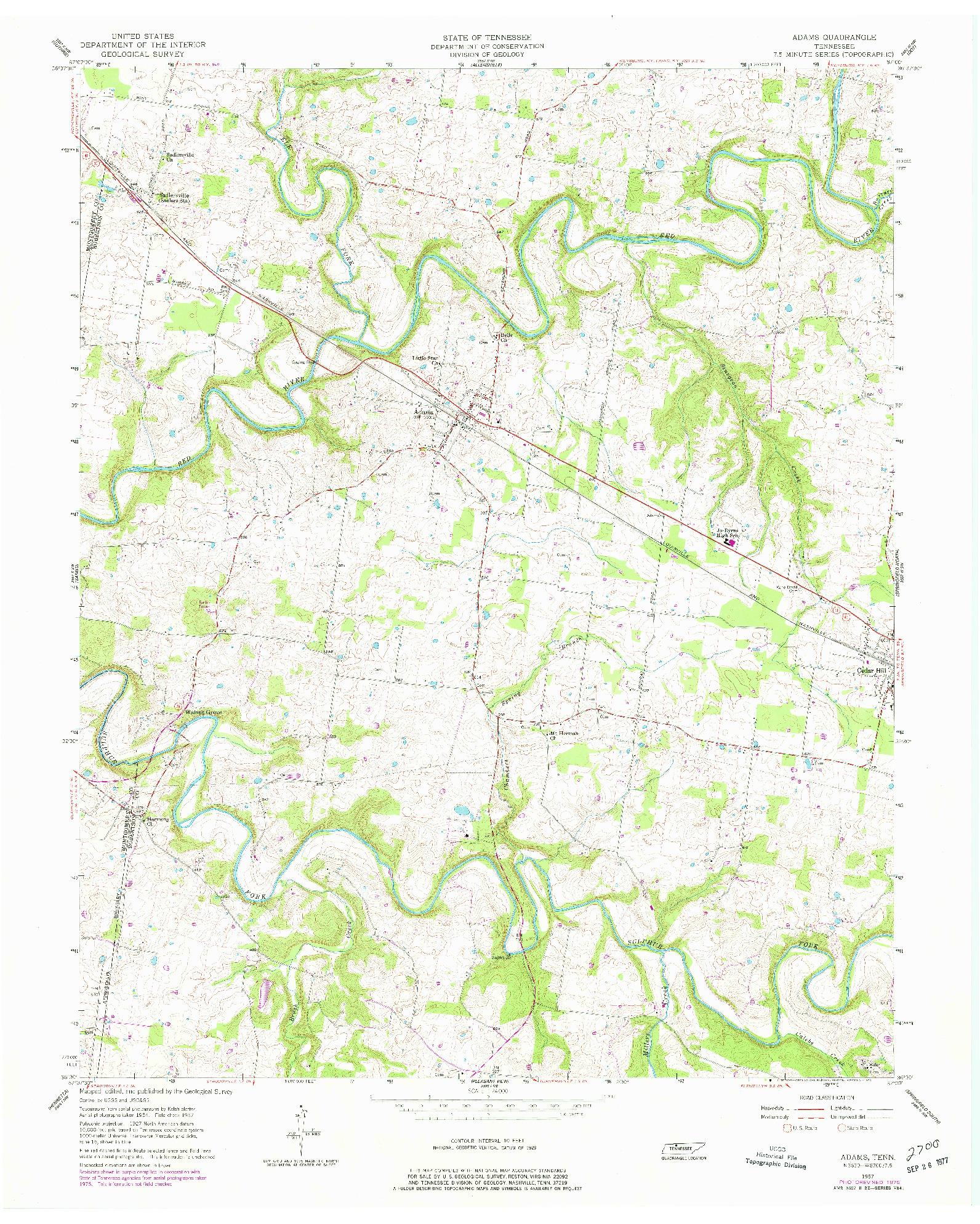 USGS 1:24000-SCALE QUADRANGLE FOR ADAMS, TN 1957