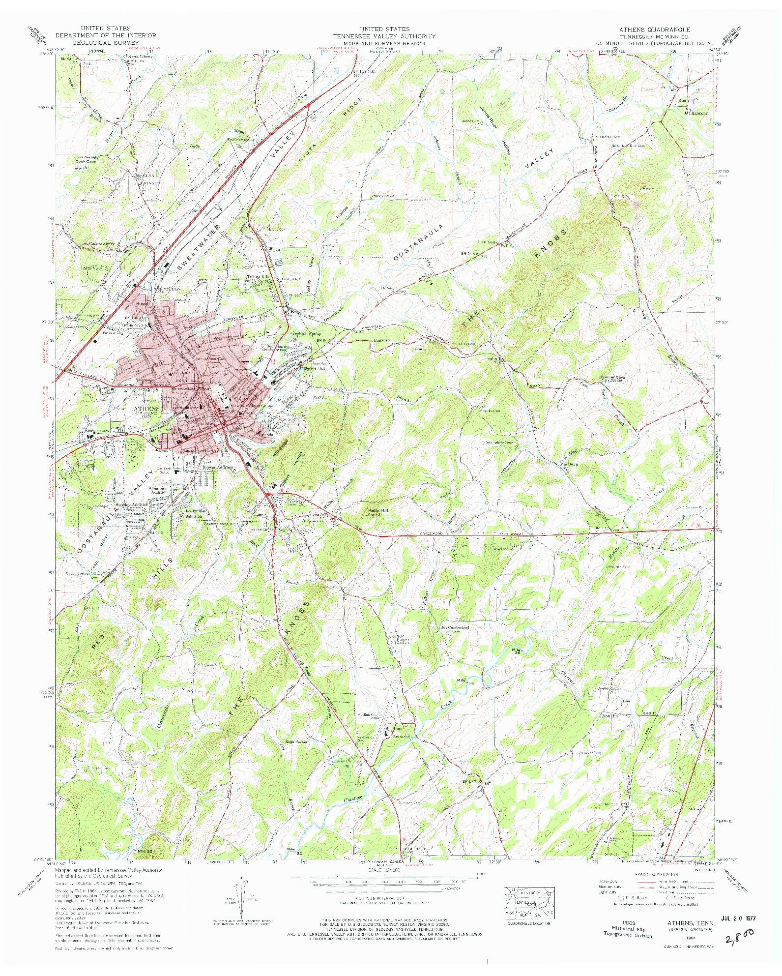 USGS 1:24000-SCALE QUADRANGLE FOR ATHENS, TN 1964