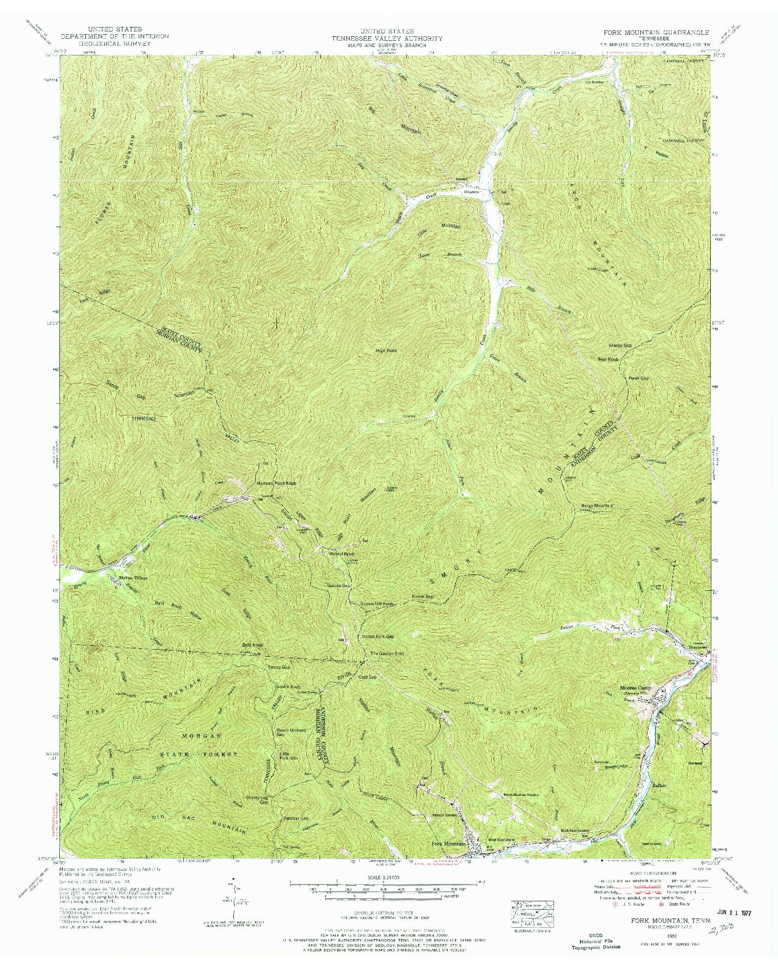 USGS 1:24000-SCALE QUADRANGLE FOR FORK MOUNTAIN, TN 1952