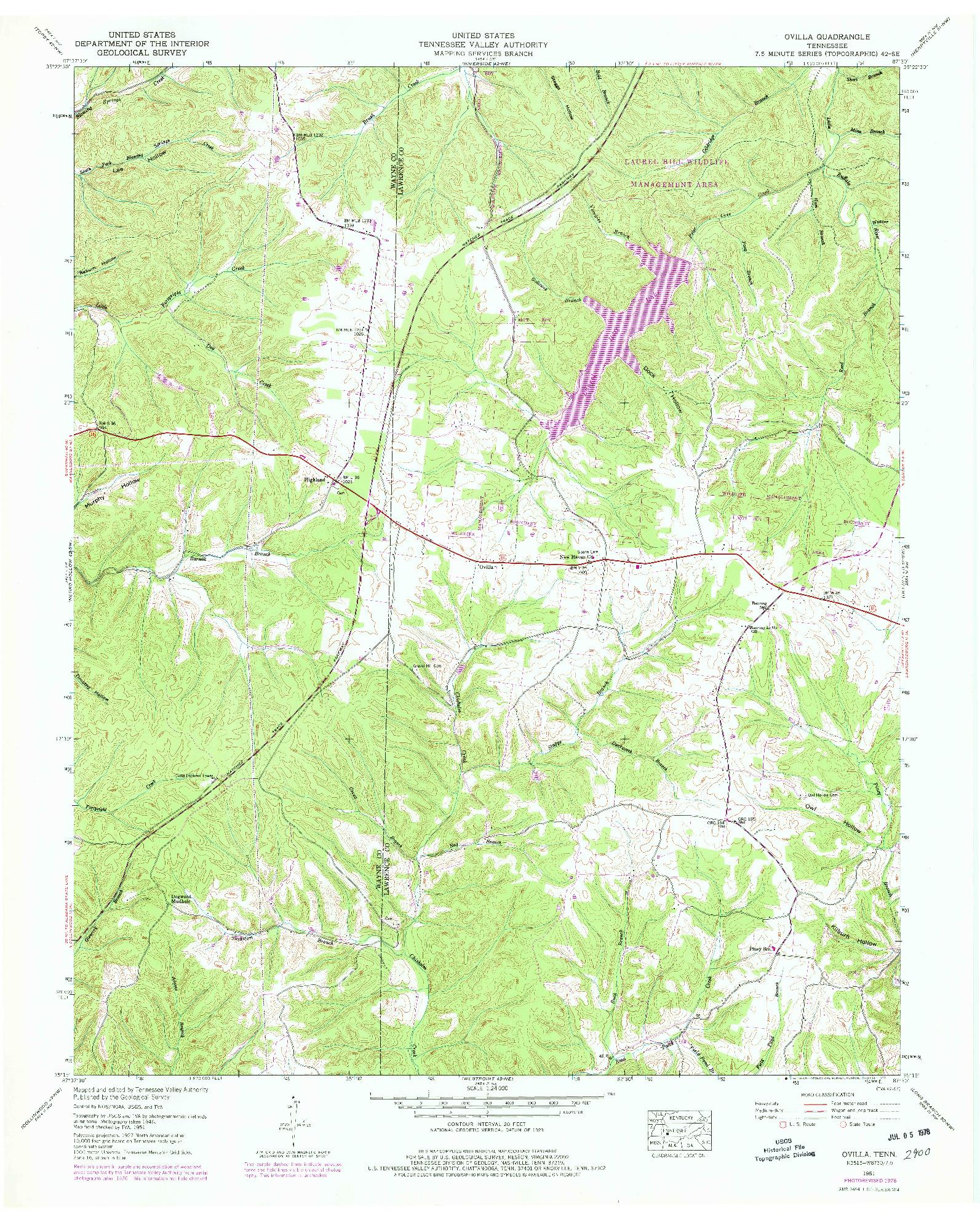 USGS 1:24000-SCALE QUADRANGLE FOR OVILLA, TN 1951