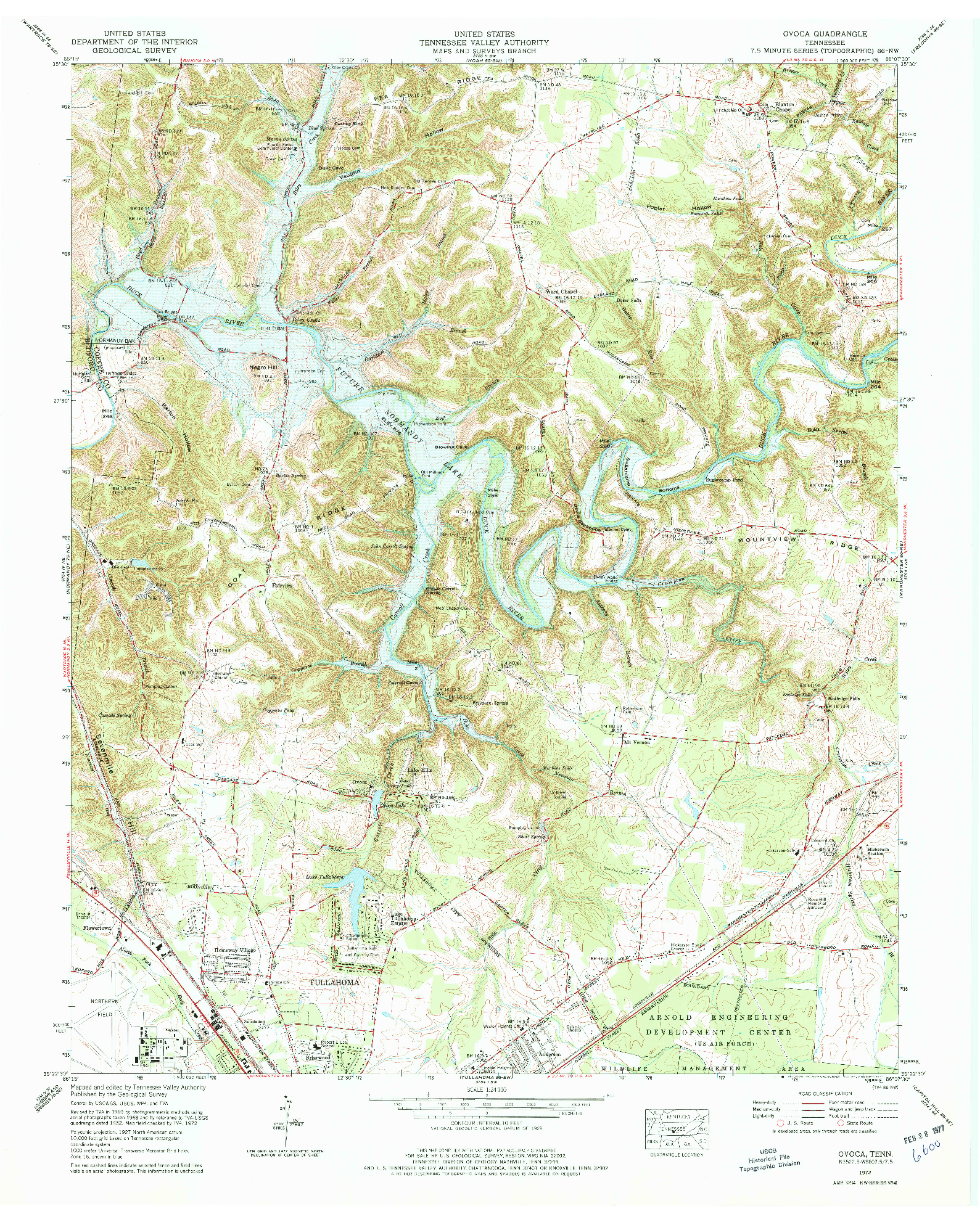 USGS 1:24000-SCALE QUADRANGLE FOR OVOCA, TN 1972