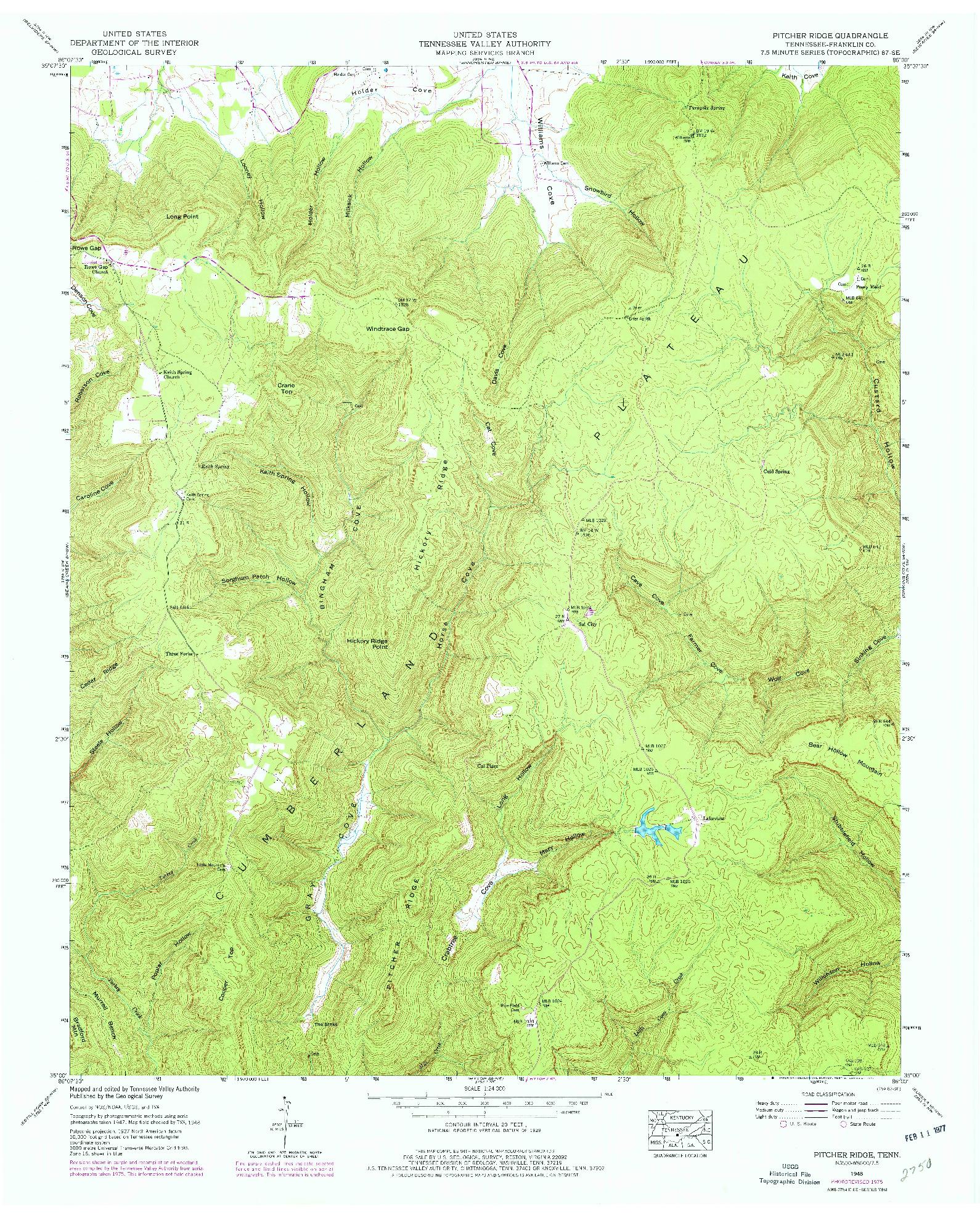 USGS 1:24000-SCALE QUADRANGLE FOR PITCHER RIDGE, TN 1948
