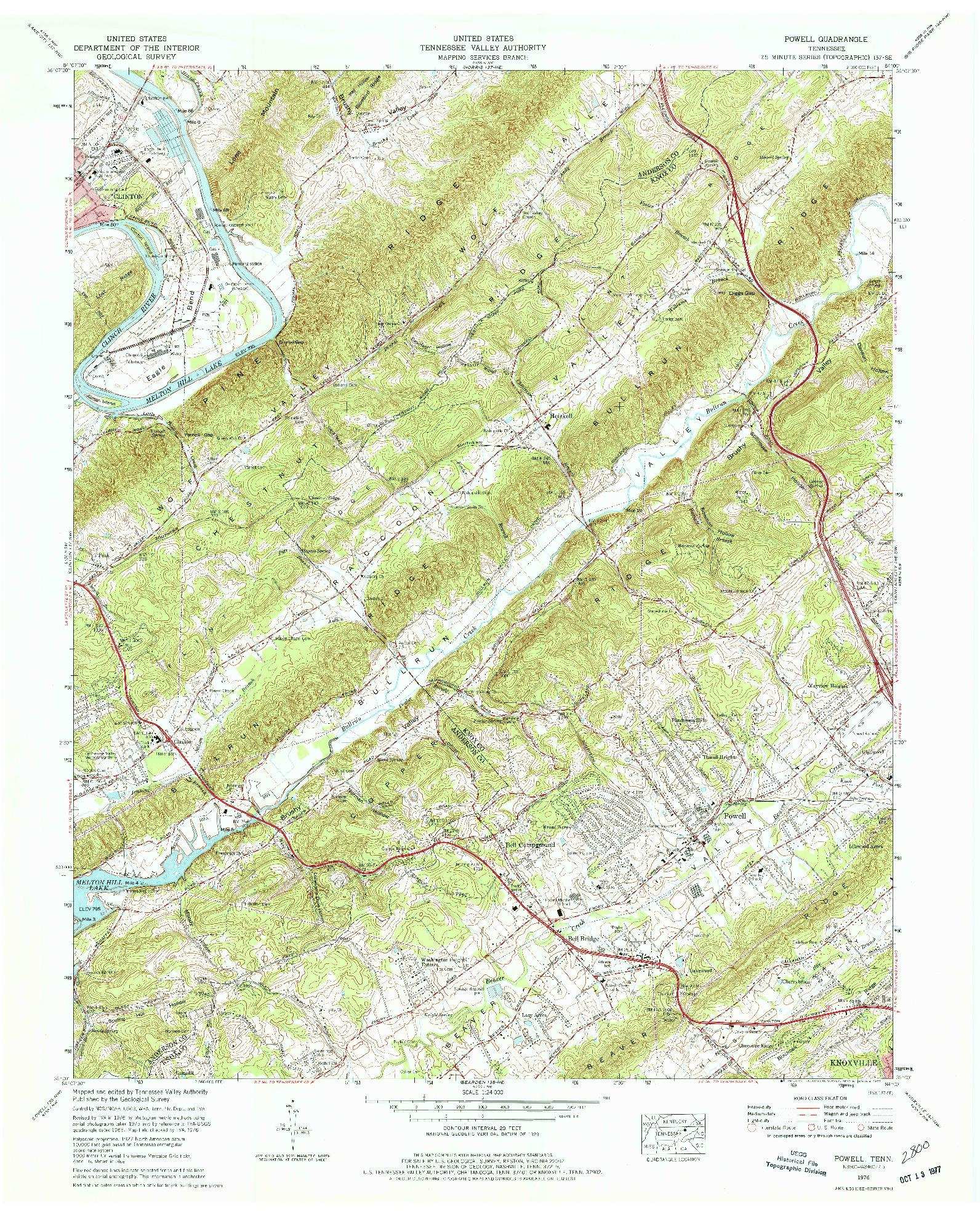 USGS 1:24000-SCALE QUADRANGLE FOR POWELL, TN 1976