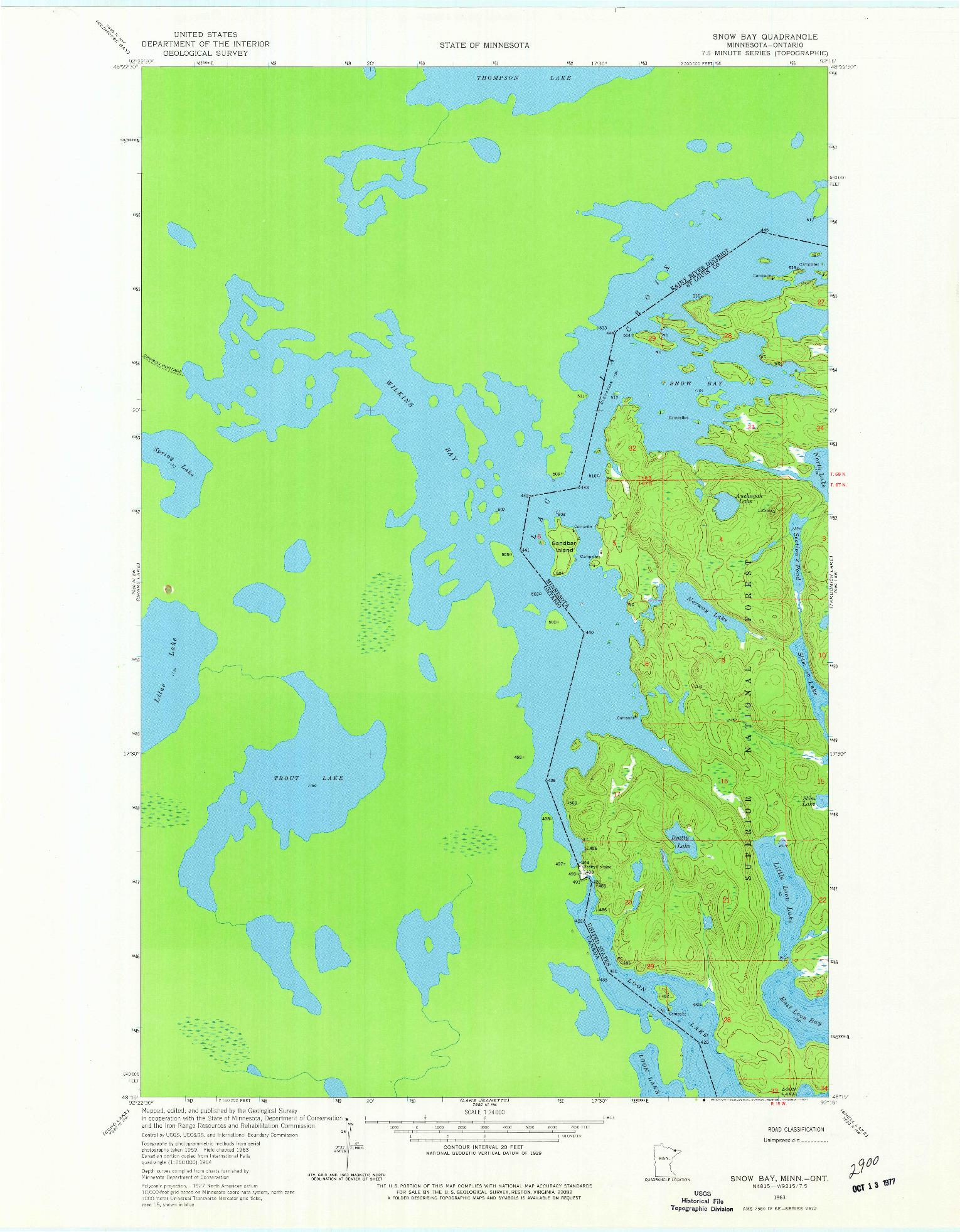 USGS 1:24000-SCALE QUADRANGLE FOR SNOW BAY, MN 1963
