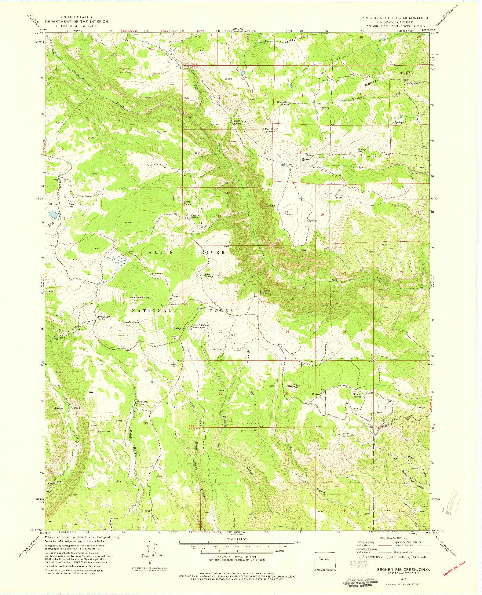 USGS 1:24000-SCALE QUADRANGLE FOR BROKEN RIB CREEK, CO 1974