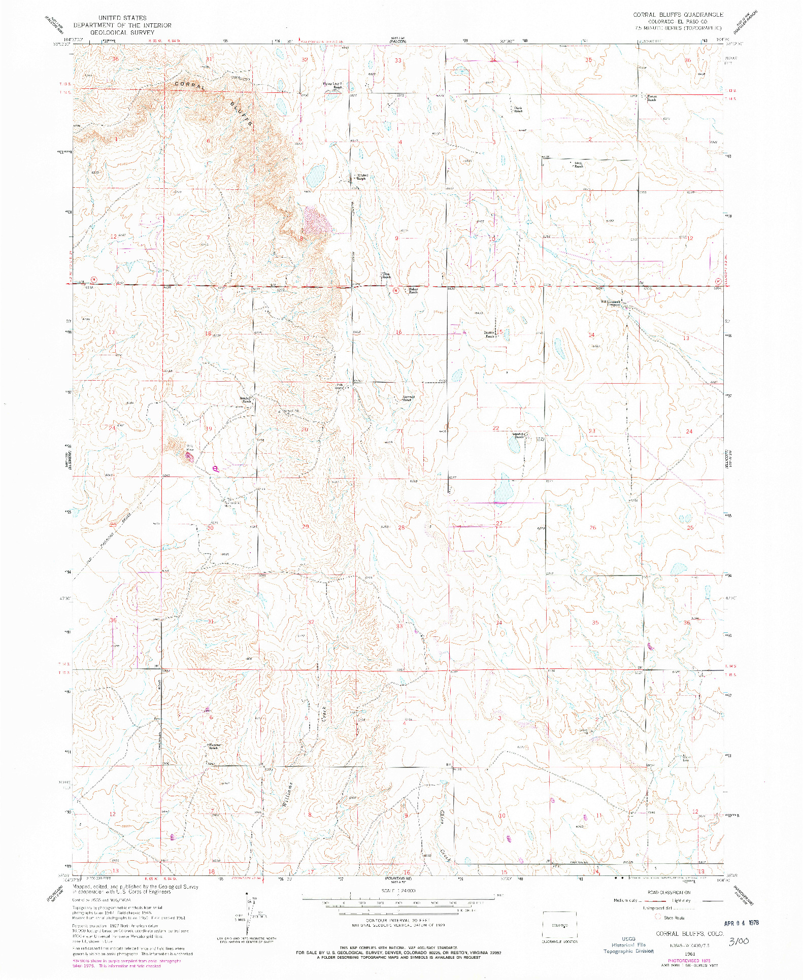 USGS 1:24000-SCALE QUADRANGLE FOR CORRAL BLUFFS, CO 1961