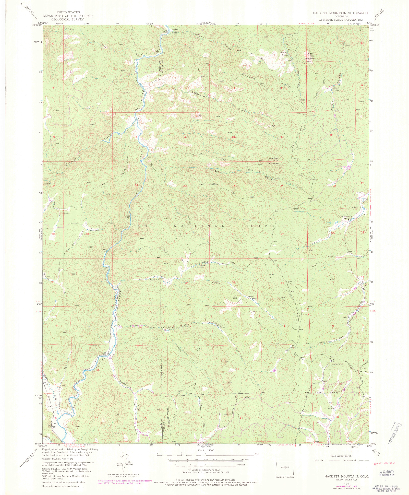 USGS 1:24000-SCALE QUADRANGLE FOR HACKETT MOUNTAIN, CO 1956