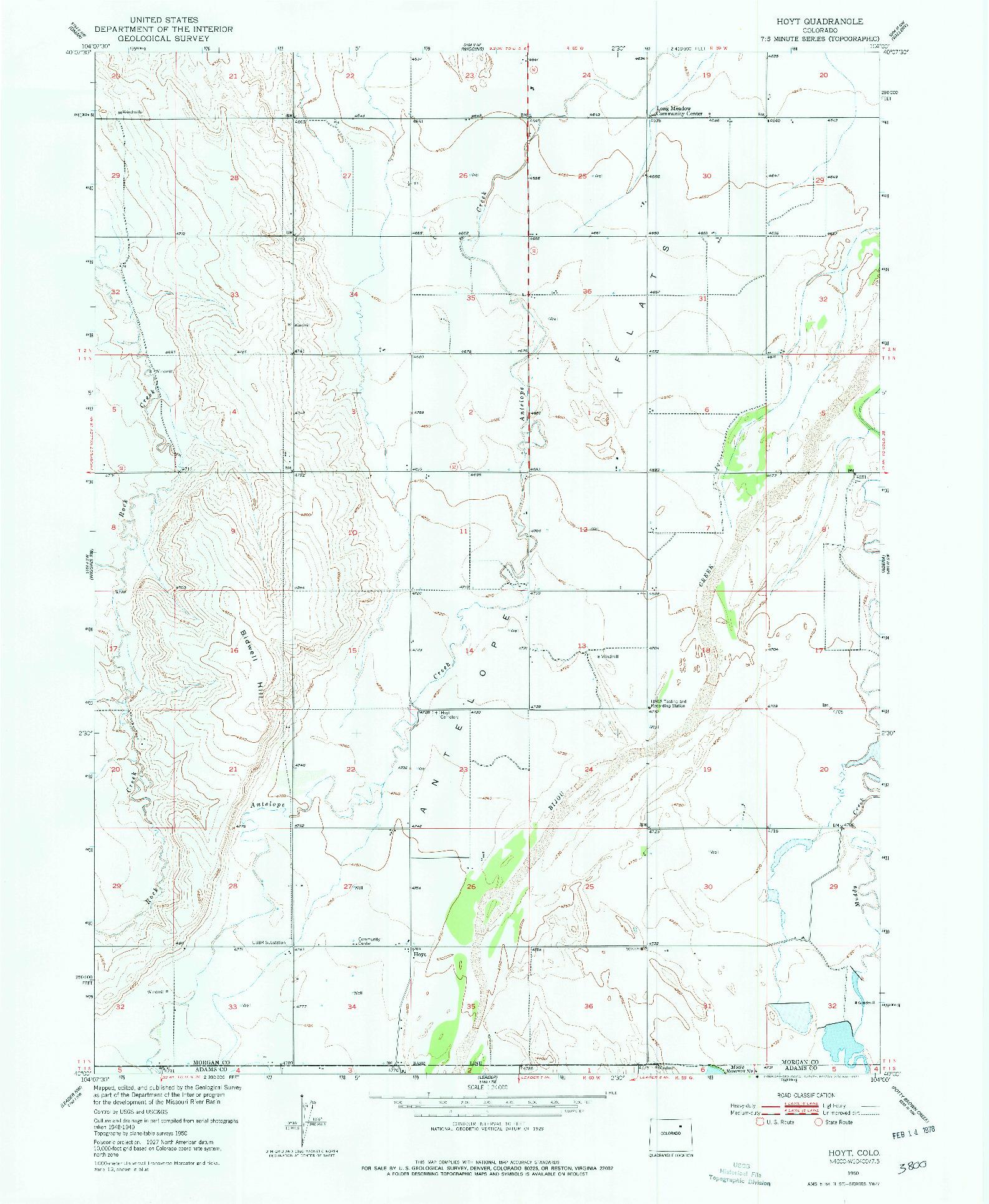 USGS 1:24000-SCALE QUADRANGLE FOR HOYT, CO 1950
