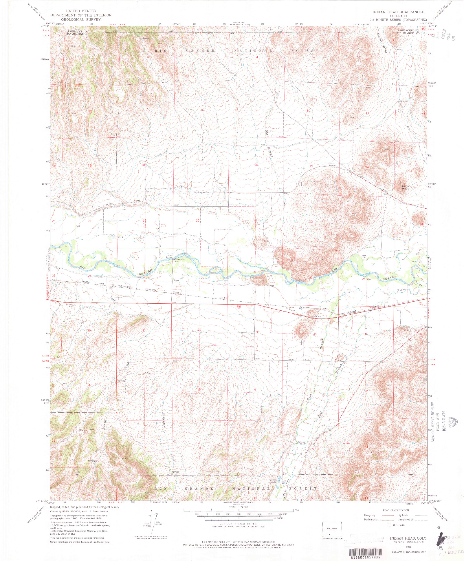 USGS 1:24000-SCALE QUADRANGLE FOR INDIAN HEAD, CO 1966
