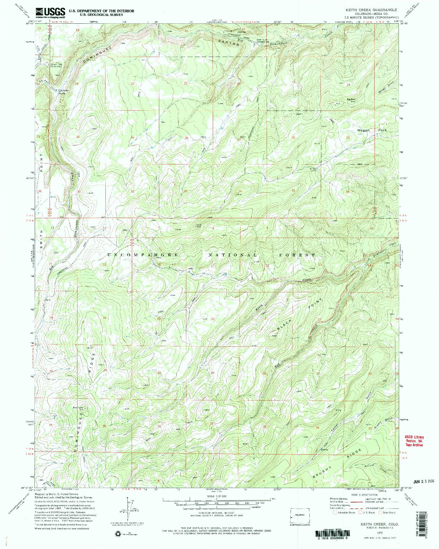 USGS 1:24000-SCALE QUADRANGLE FOR KEITH CREEK, CO 1972
