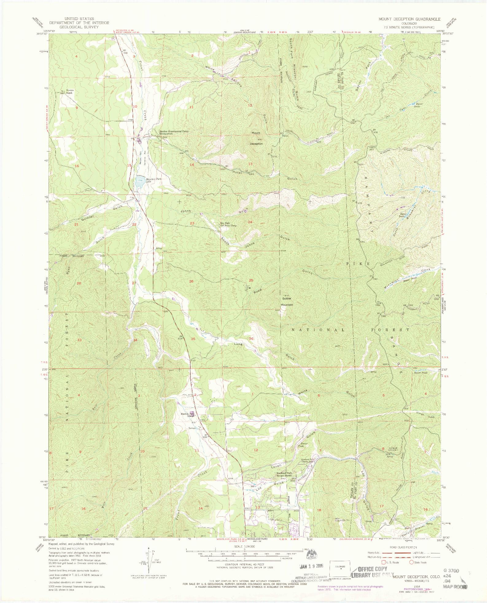 USGS 1:24000-SCALE QUADRANGLE FOR MOUNT DECEPTION, CO 1954