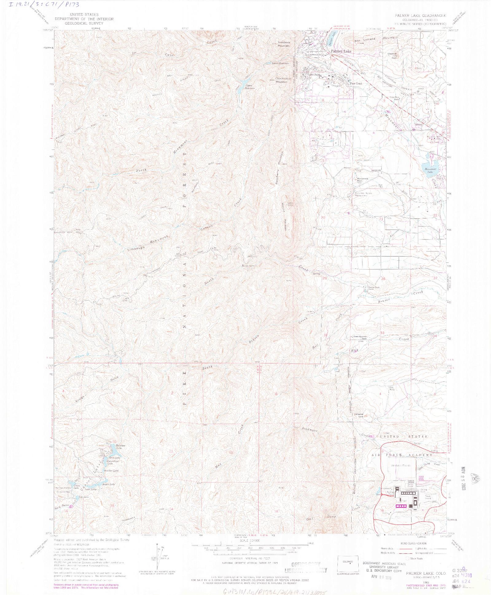 USGS 1:24000-SCALE QUADRANGLE FOR PALMER LAKE, CO 1961