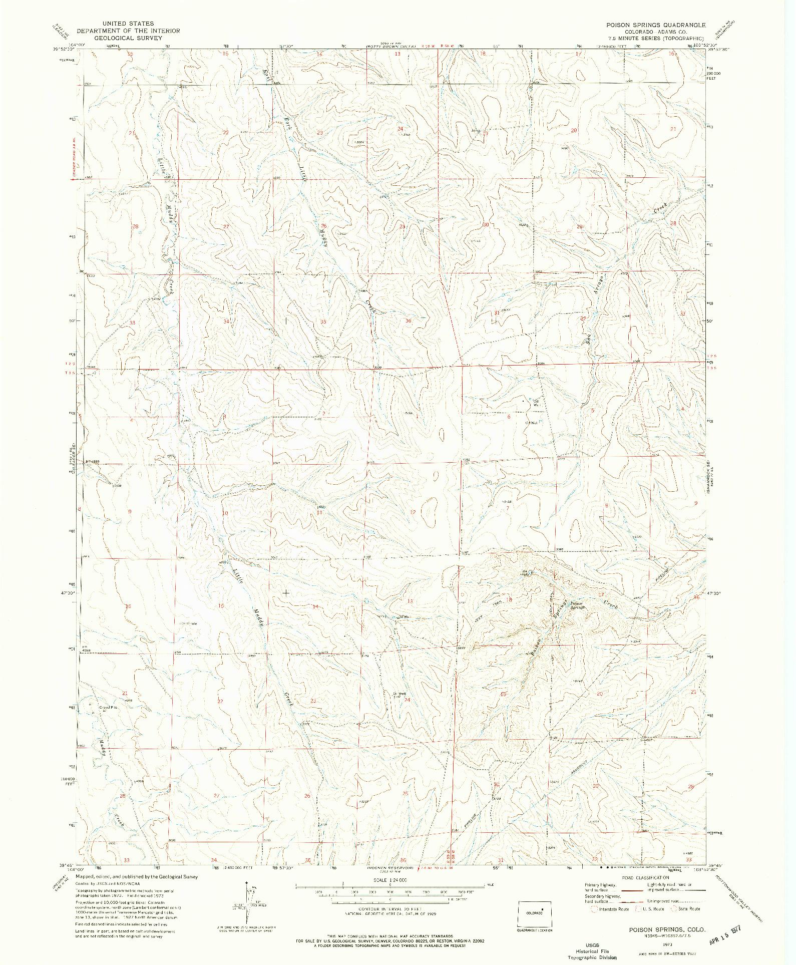 USGS 1:24000-SCALE QUADRANGLE FOR POISON SPRINGS, CO 1973