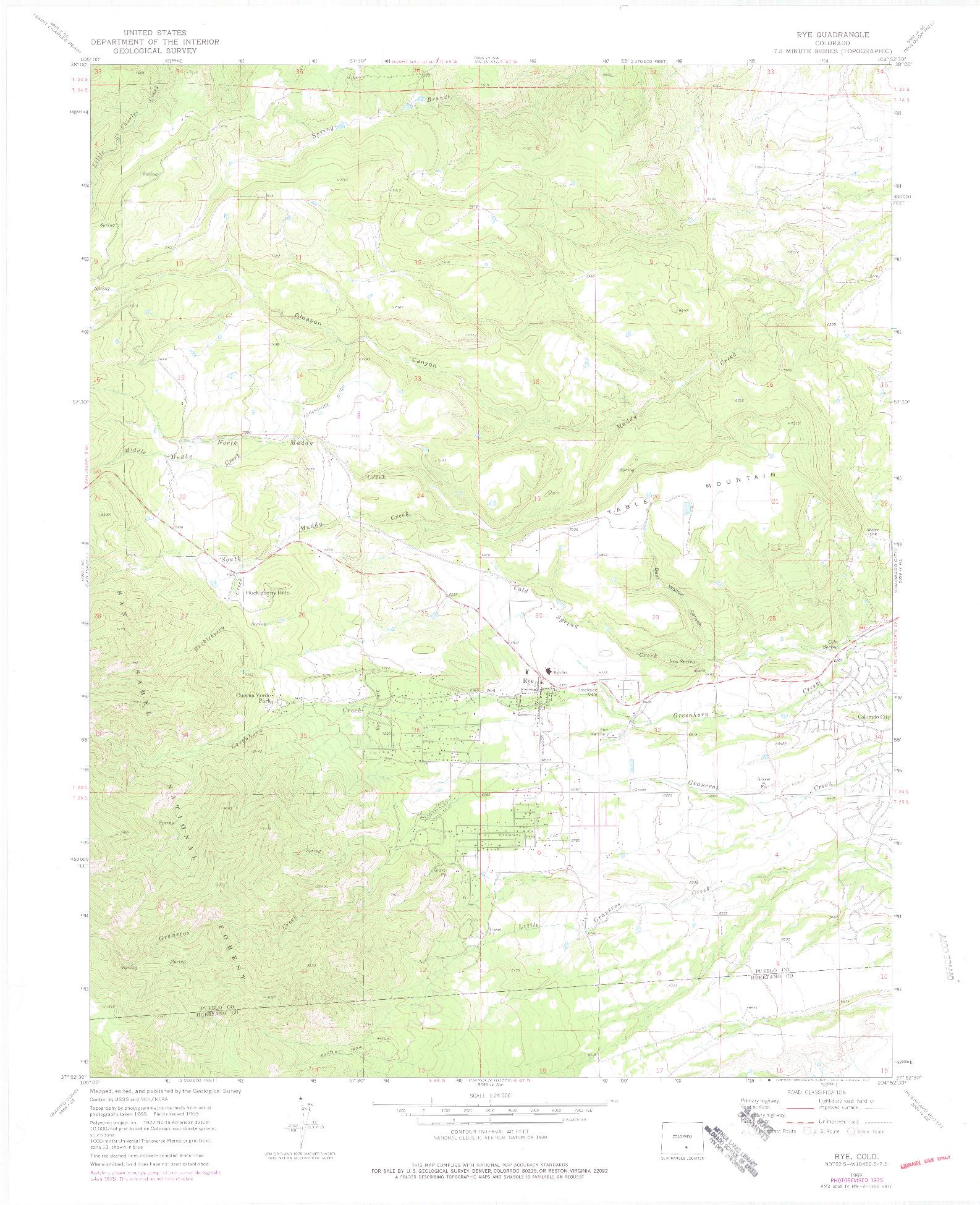 USGS 1:24000-SCALE QUADRANGLE FOR RYE, CO 1969