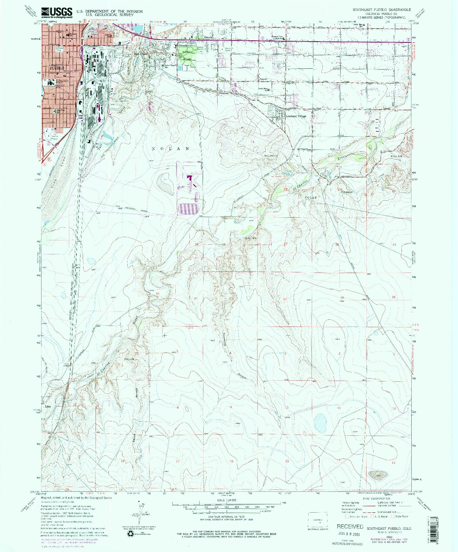 USGS 1:24000-SCALE QUADRANGLE FOR SOUTHEAST PUEBLO, CO 1960