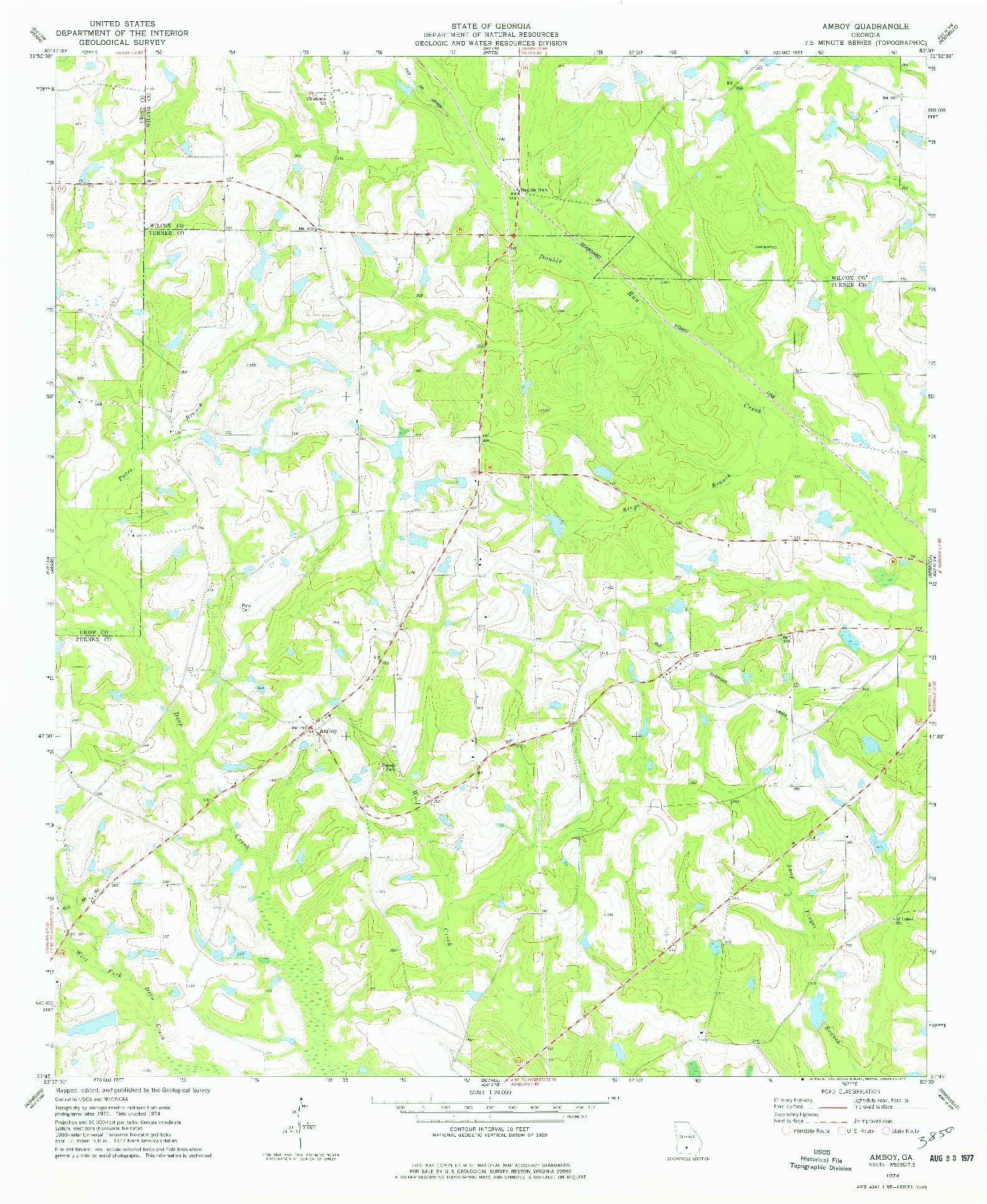 USGS 1:24000-SCALE QUADRANGLE FOR AMBOY, GA 1974