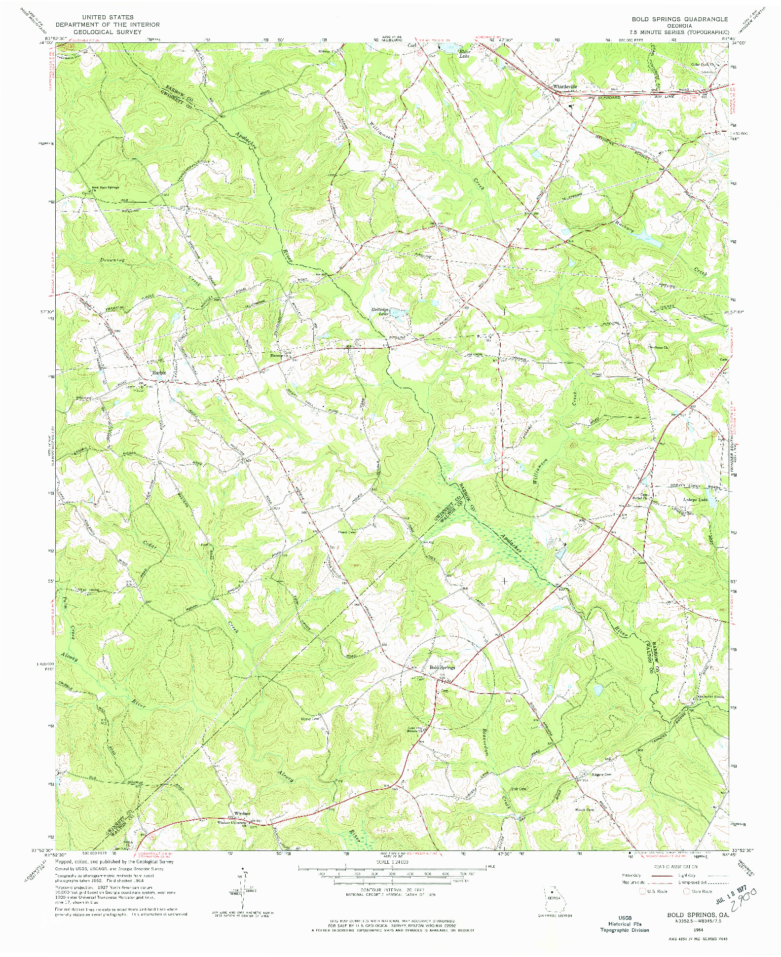 USGS 1:24000-SCALE QUADRANGLE FOR BOLD SPRINGS, GA 1964