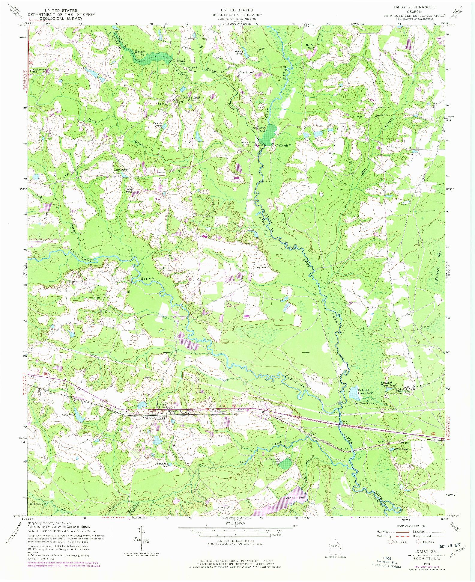 USGS 1:24000-SCALE QUADRANGLE FOR DAISY, GA 1958