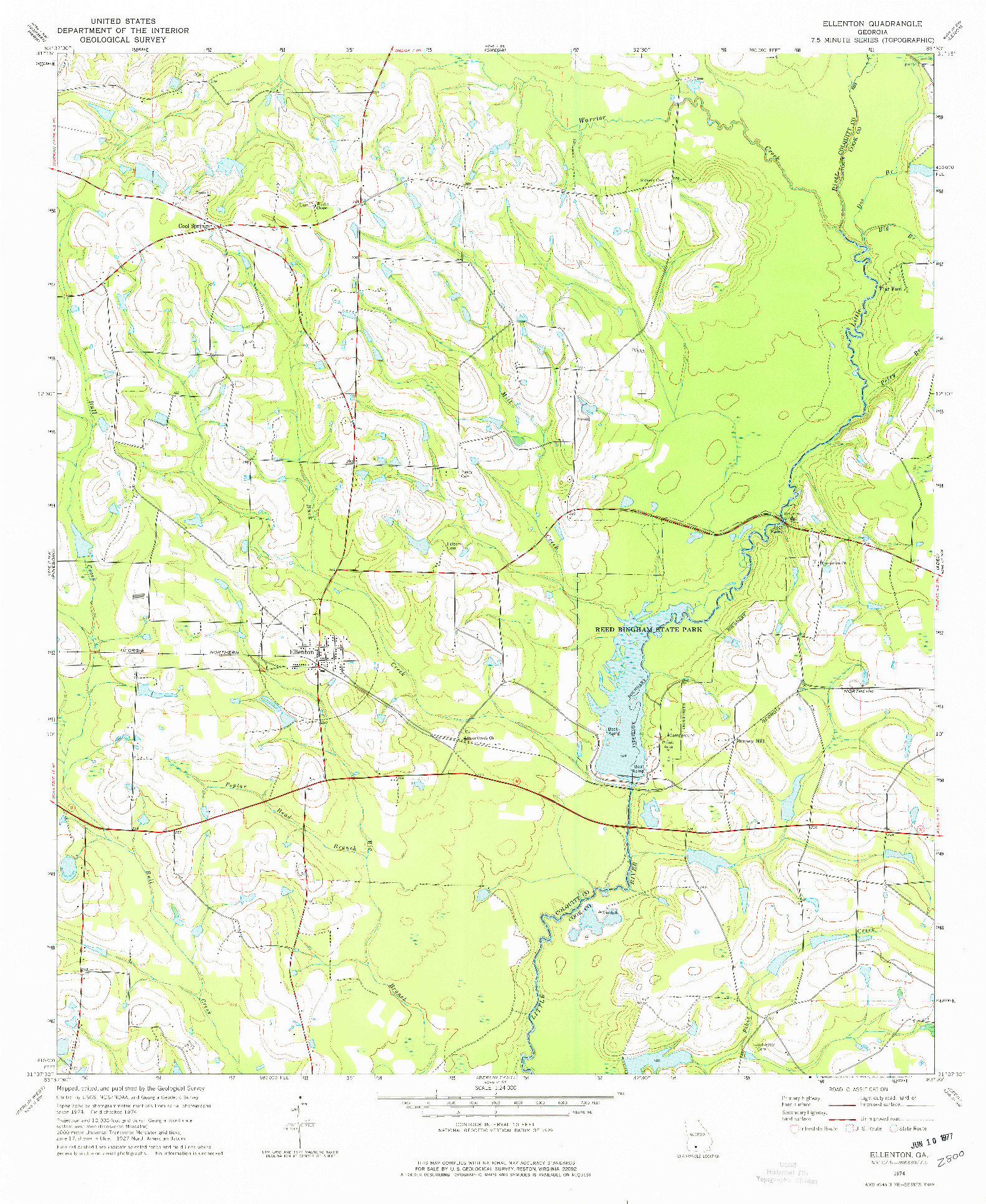 USGS 1:24000-SCALE QUADRANGLE FOR ELLENTON, GA 1974