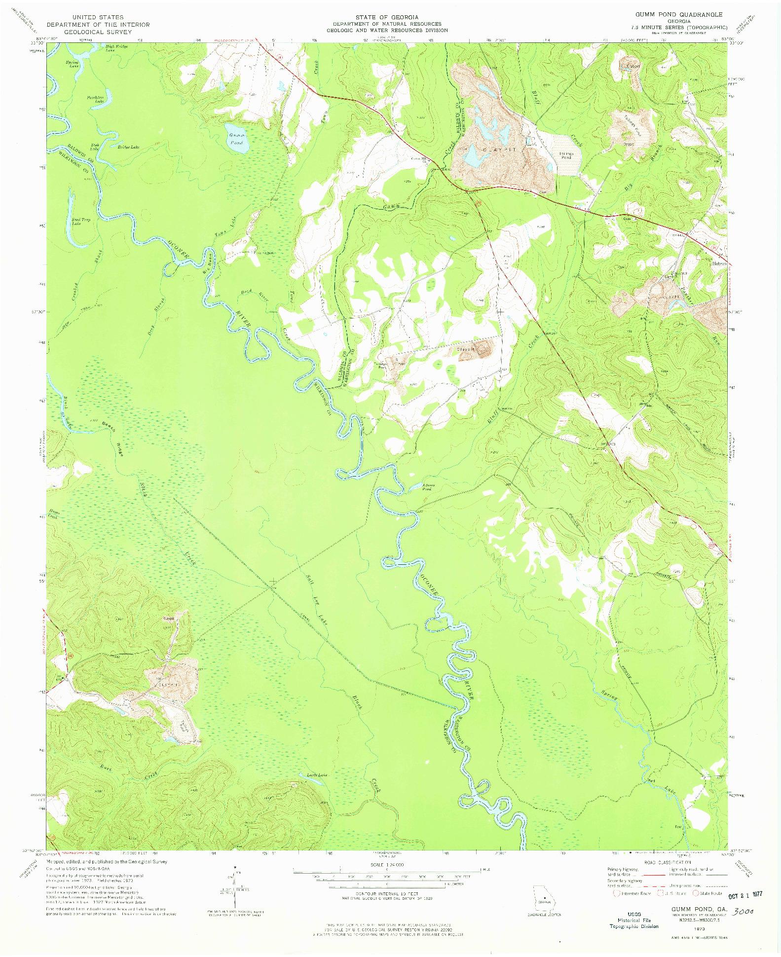 USGS 1:24000-SCALE QUADRANGLE FOR GUMM POND, GA 1973