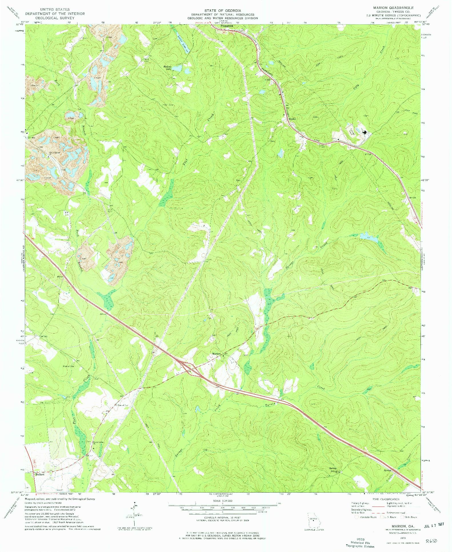USGS 1:24000-SCALE QUADRANGLE FOR MARION, GA 1973