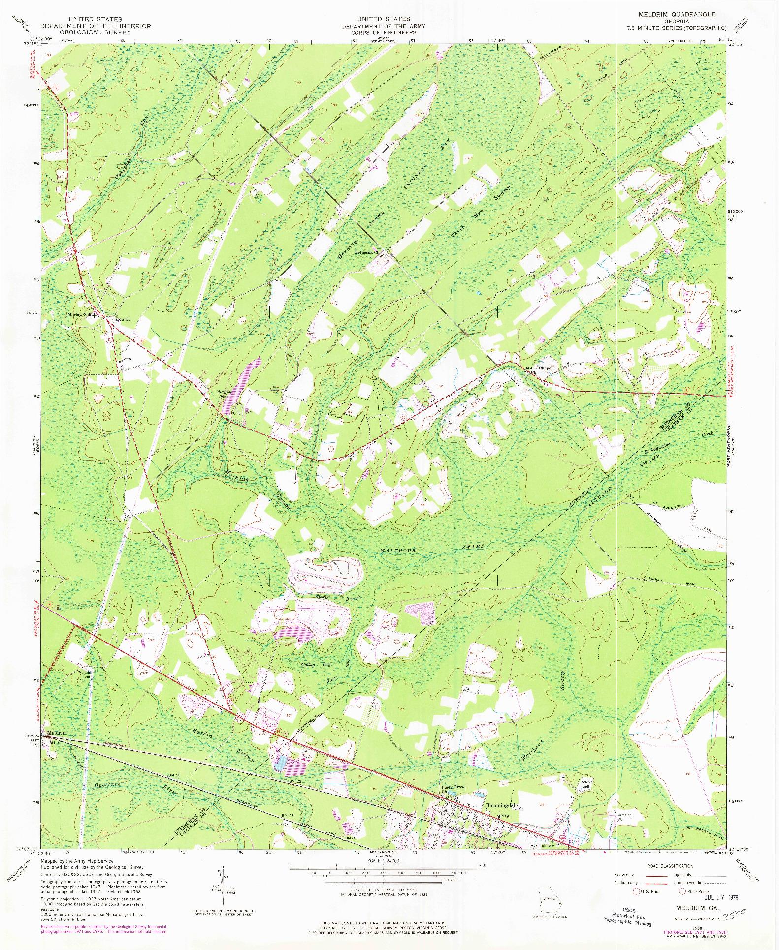 USGS 1:24000-SCALE QUADRANGLE FOR MELDRIM, GA 1958