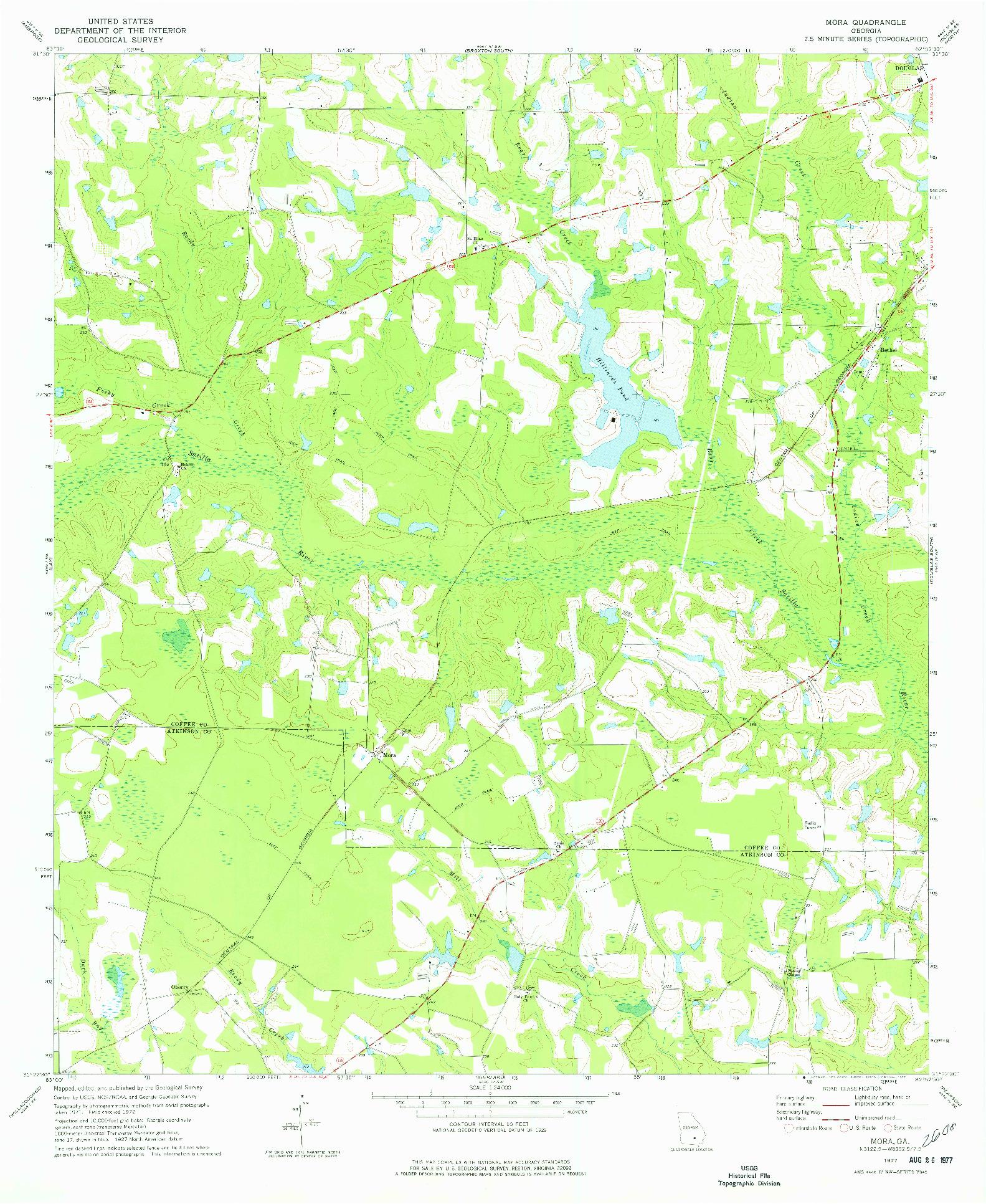 USGS 1:24000-SCALE QUADRANGLE FOR MORA, GA 1977