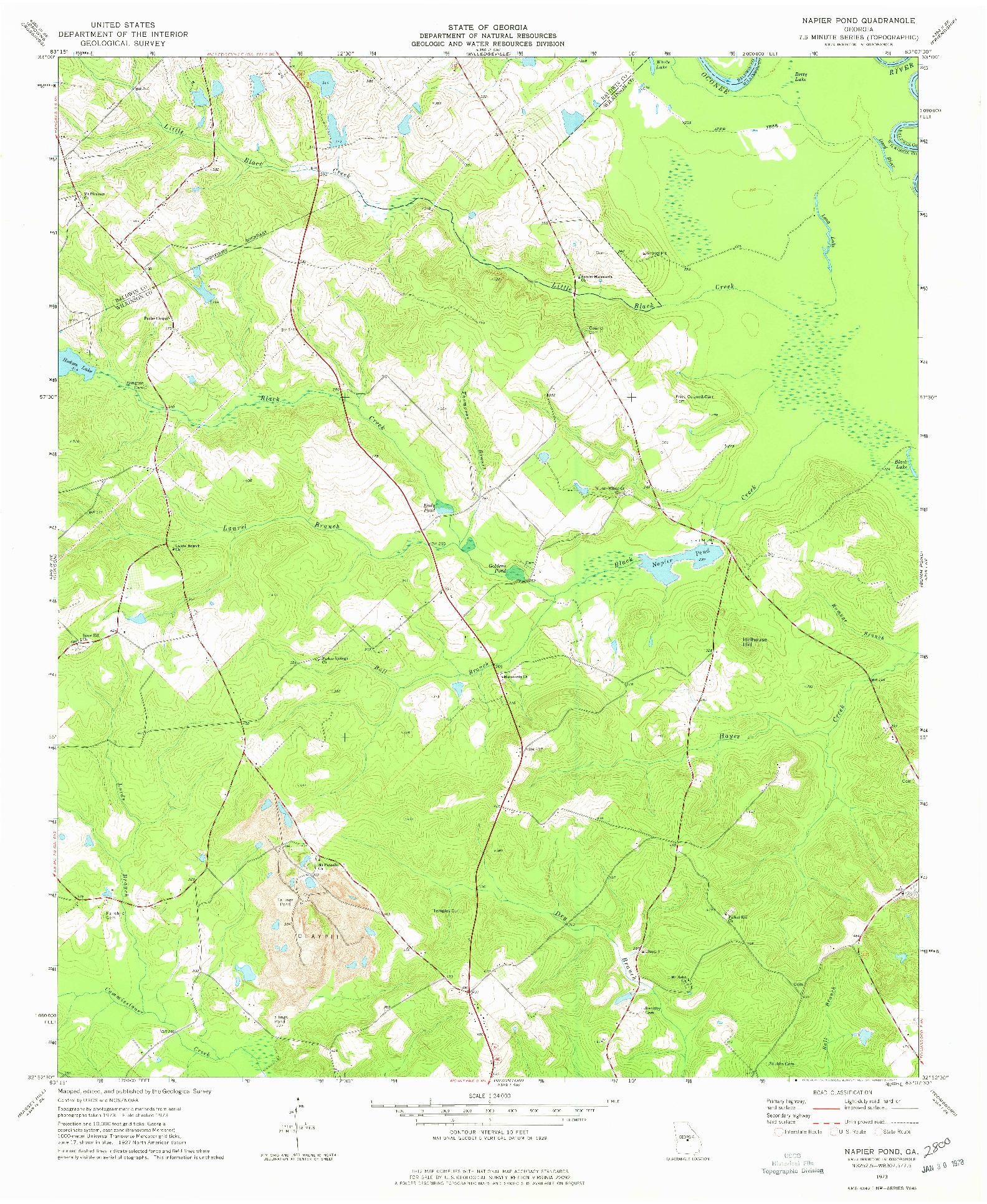 USGS 1:24000-SCALE QUADRANGLE FOR NAPIER POND, GA 1973