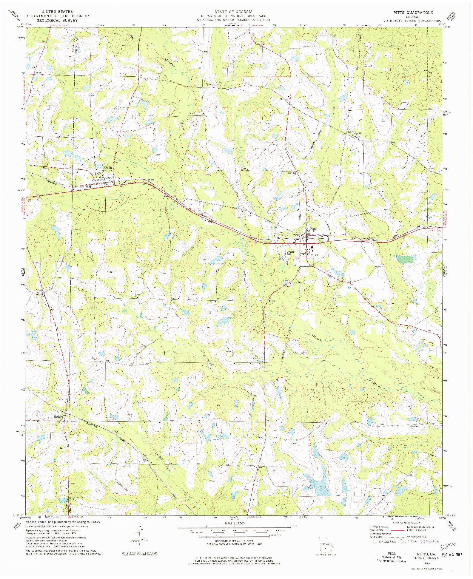 USGS 1:24000-SCALE QUADRANGLE FOR PITTS, GA 1974
