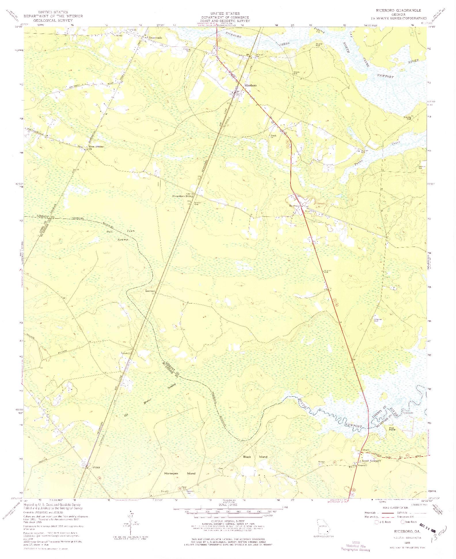 USGS 1:24000-SCALE QUADRANGLE FOR RICEBORO, GA 1955