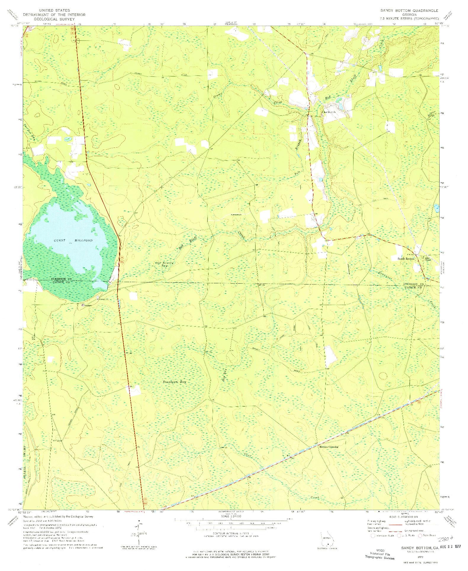 USGS 1:24000-SCALE QUADRANGLE FOR SANDY BOTTOM, GA 1972