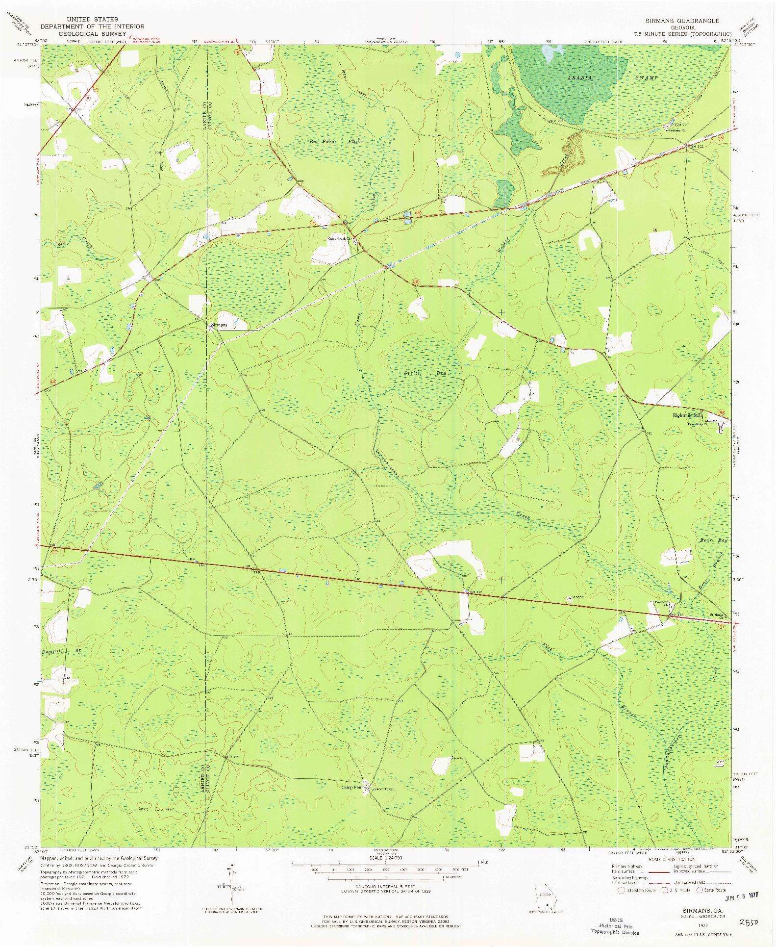 USGS 1:24000-SCALE QUADRANGLE FOR SIRMANS, GA 1972