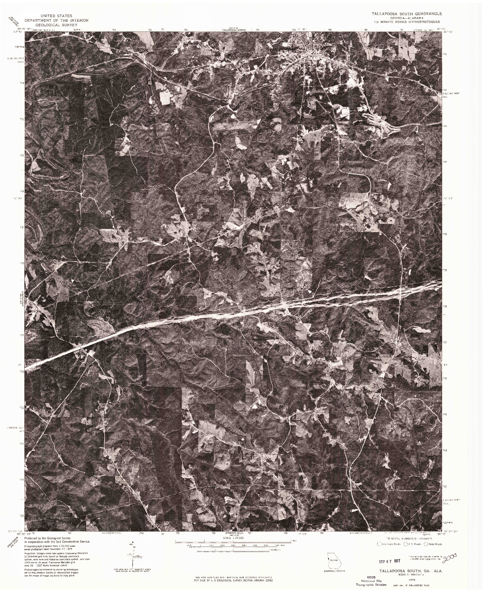 USGS 1:24000-SCALE QUADRANGLE FOR TALLAPOOSA SOUTH, GA 1975