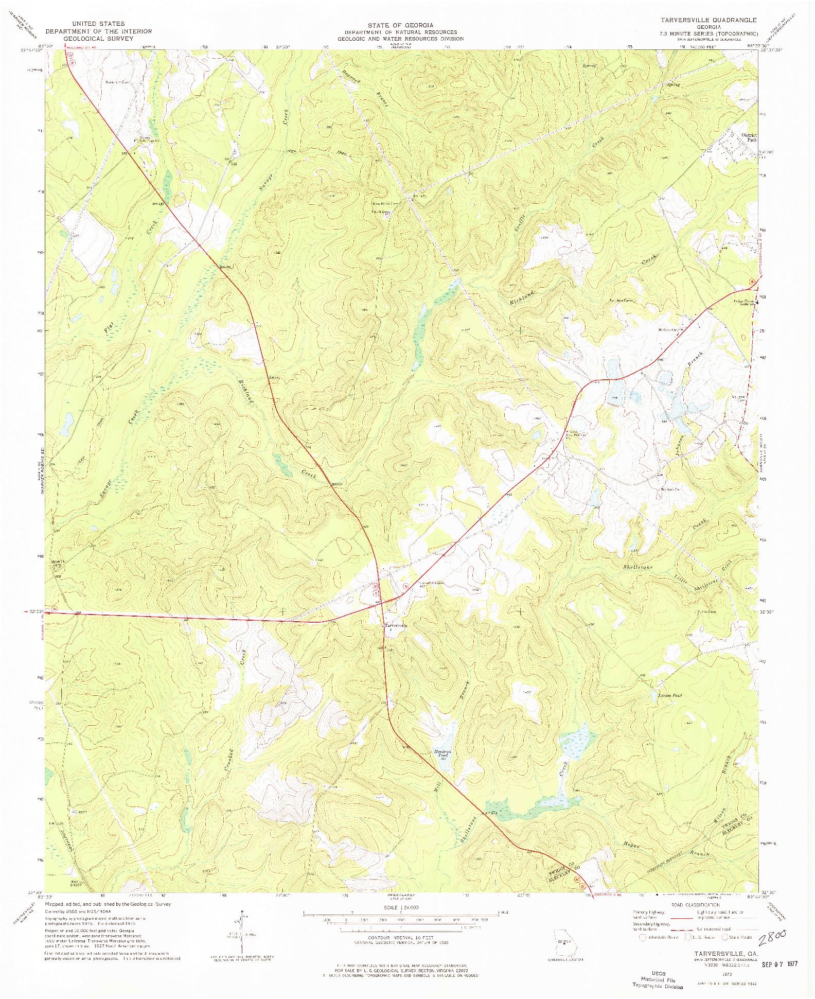 USGS 1:24000-SCALE QUADRANGLE FOR TARVERSVILLE, GA 1973
