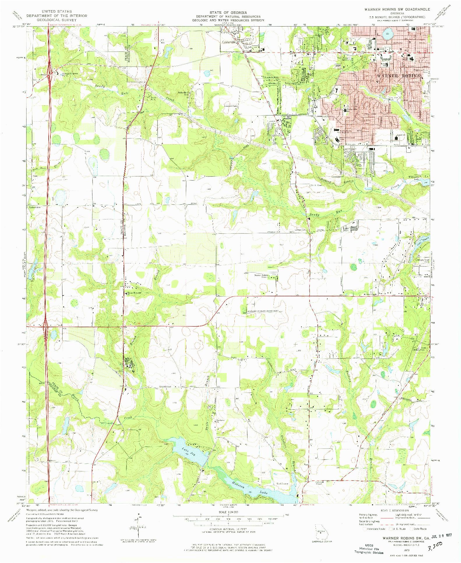 USGS 1:24000-SCALE QUADRANGLE FOR WARNER ROBINS SW, GA 1973
