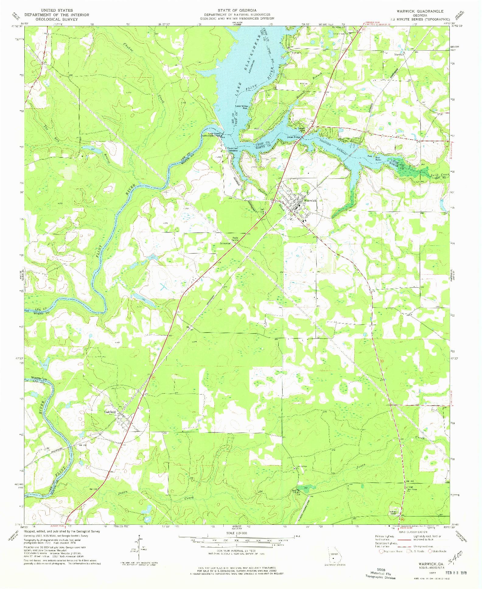 USGS 1:24000-SCALE QUADRANGLE FOR WARWICK, GA 1977