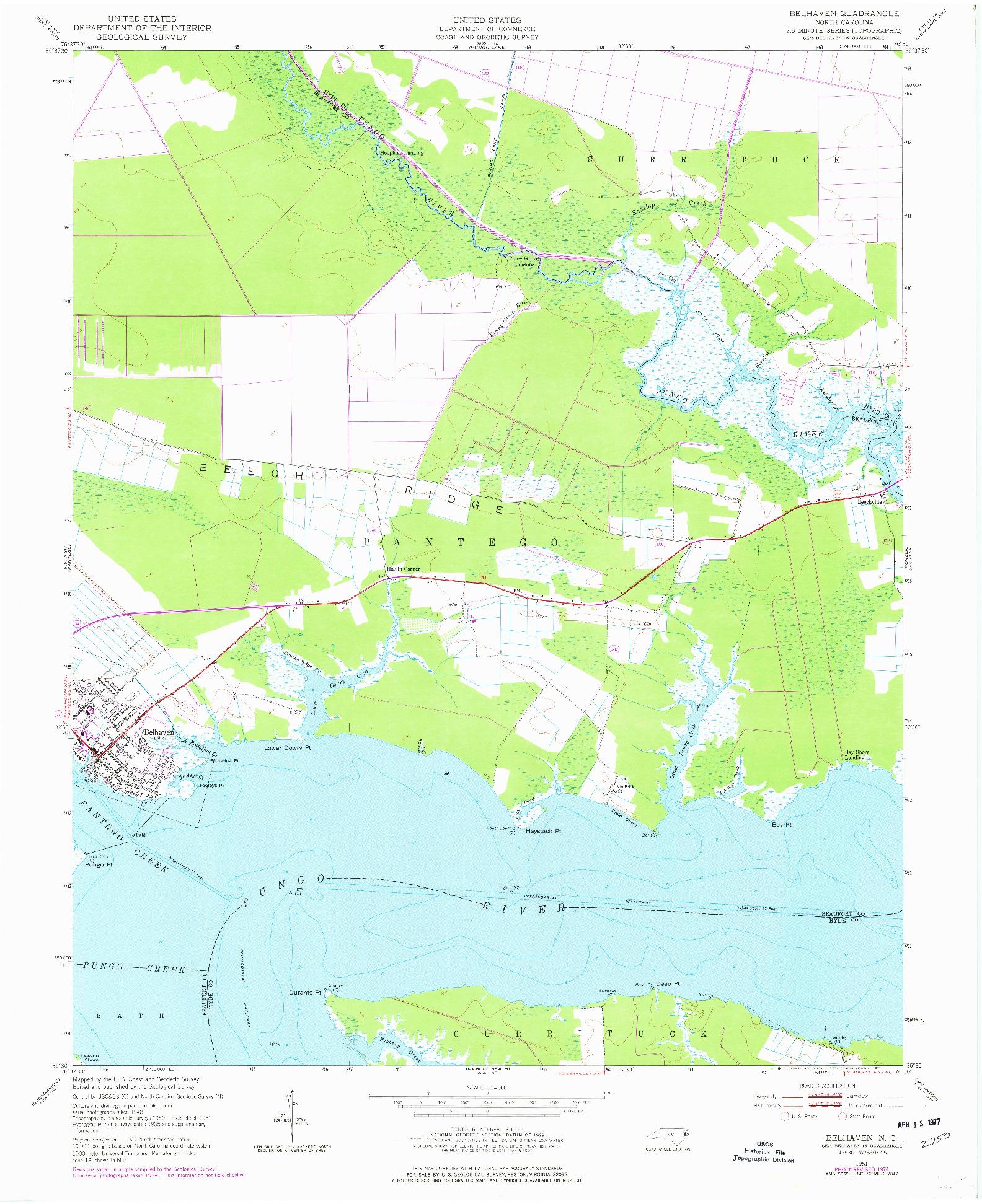 USGS 1:24000-SCALE QUADRANGLE FOR BELHAVEN, NC 1951