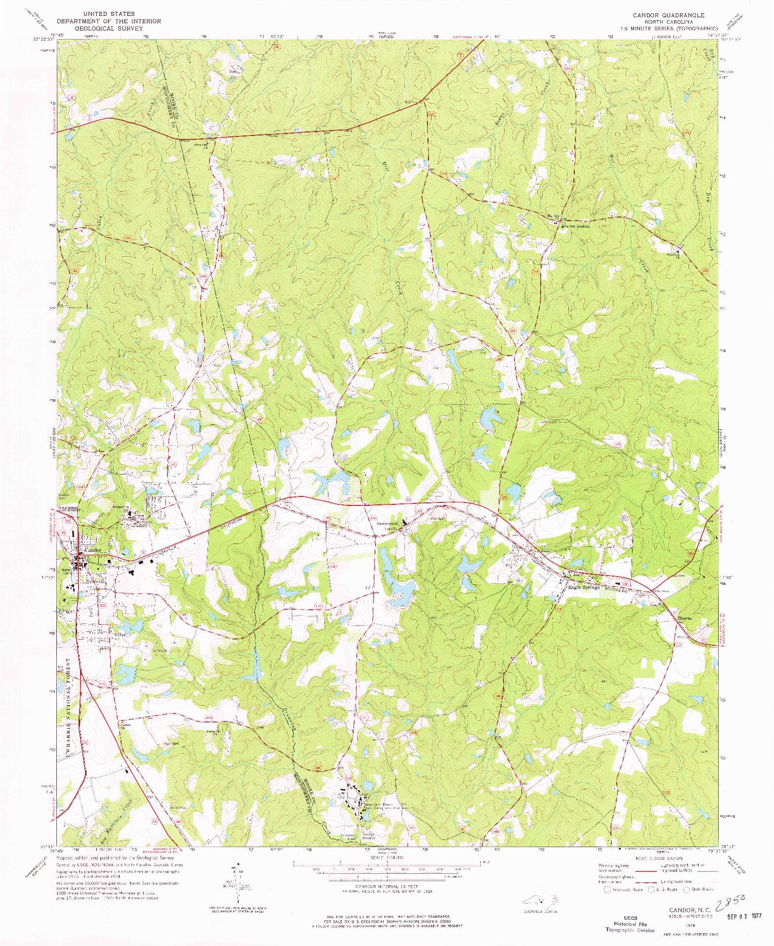 USGS 1:24000-SCALE QUADRANGLE FOR CANDOR, NC 1974
